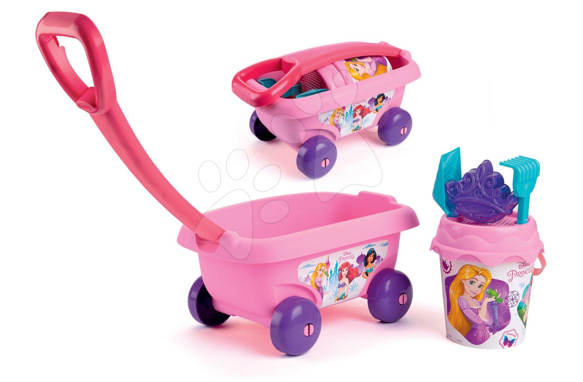 Detský vozík na ťahanie Disney Princess Smoby s vedro setom do piesku ružový (vedro výška 17 cm) od 18 mes