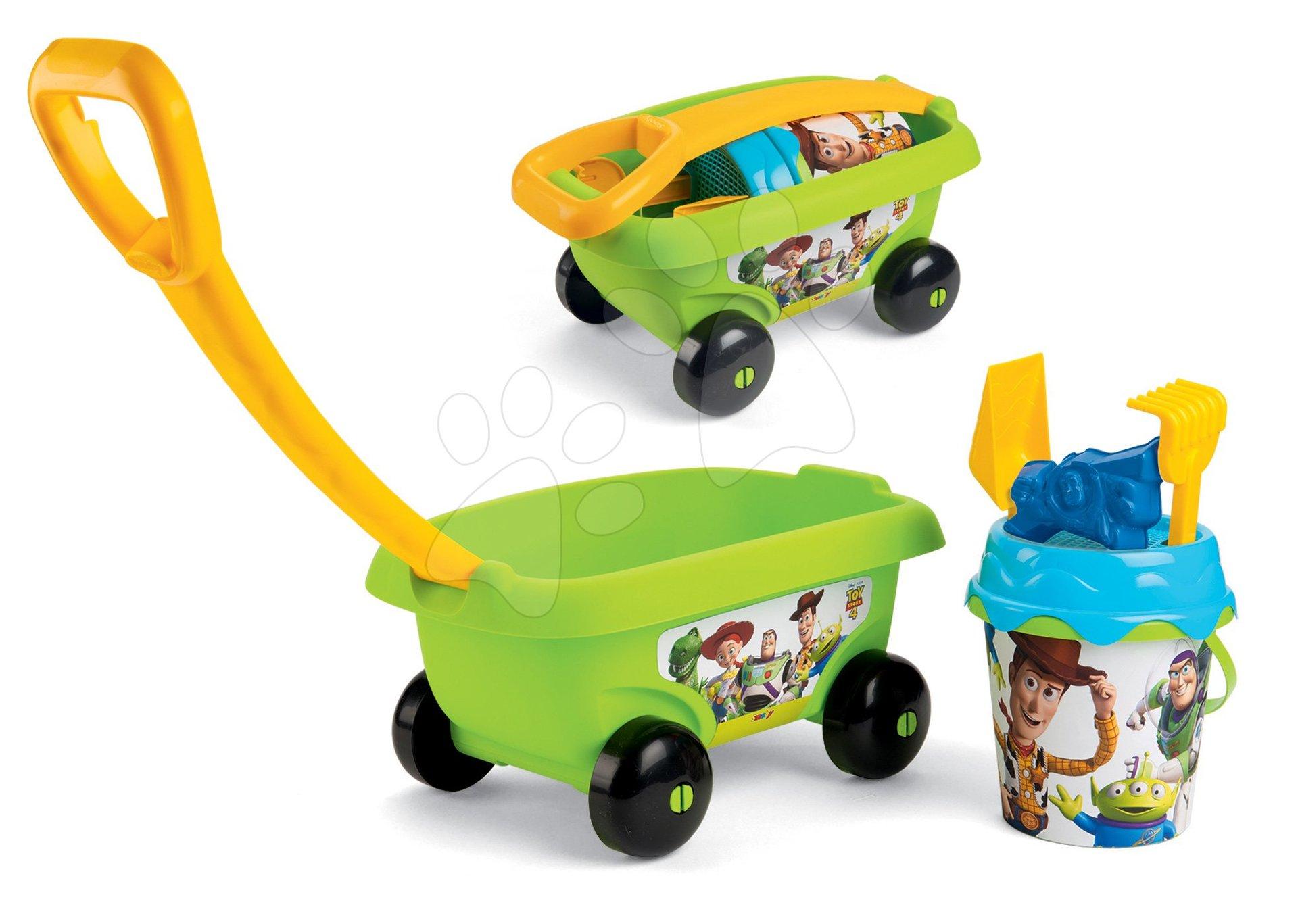 Fúriky do piesku - Detský vozík na ťahanie Toy Story Smoby s vedro setom do piesku (vedro výška 17 cm) od 18 mesiacov zelený