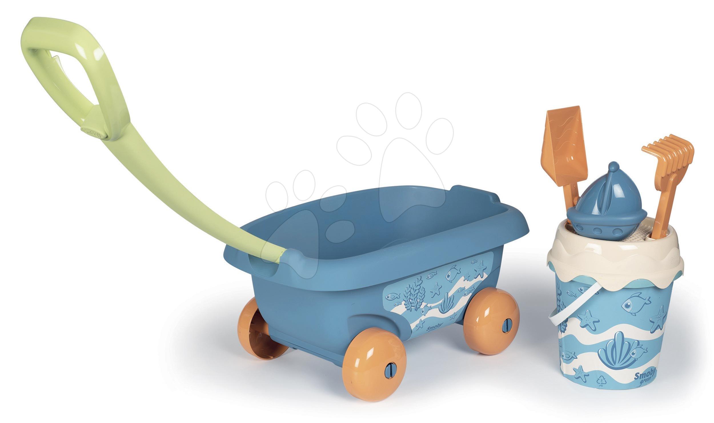 Homokozó talicskák - Húzható kiskocsi cukornádból Bio Sugar Cane Beach Cart Smoby vödörrel a Smoby Green 100% újrahasznosítható kollekcióból 18 hó-tól