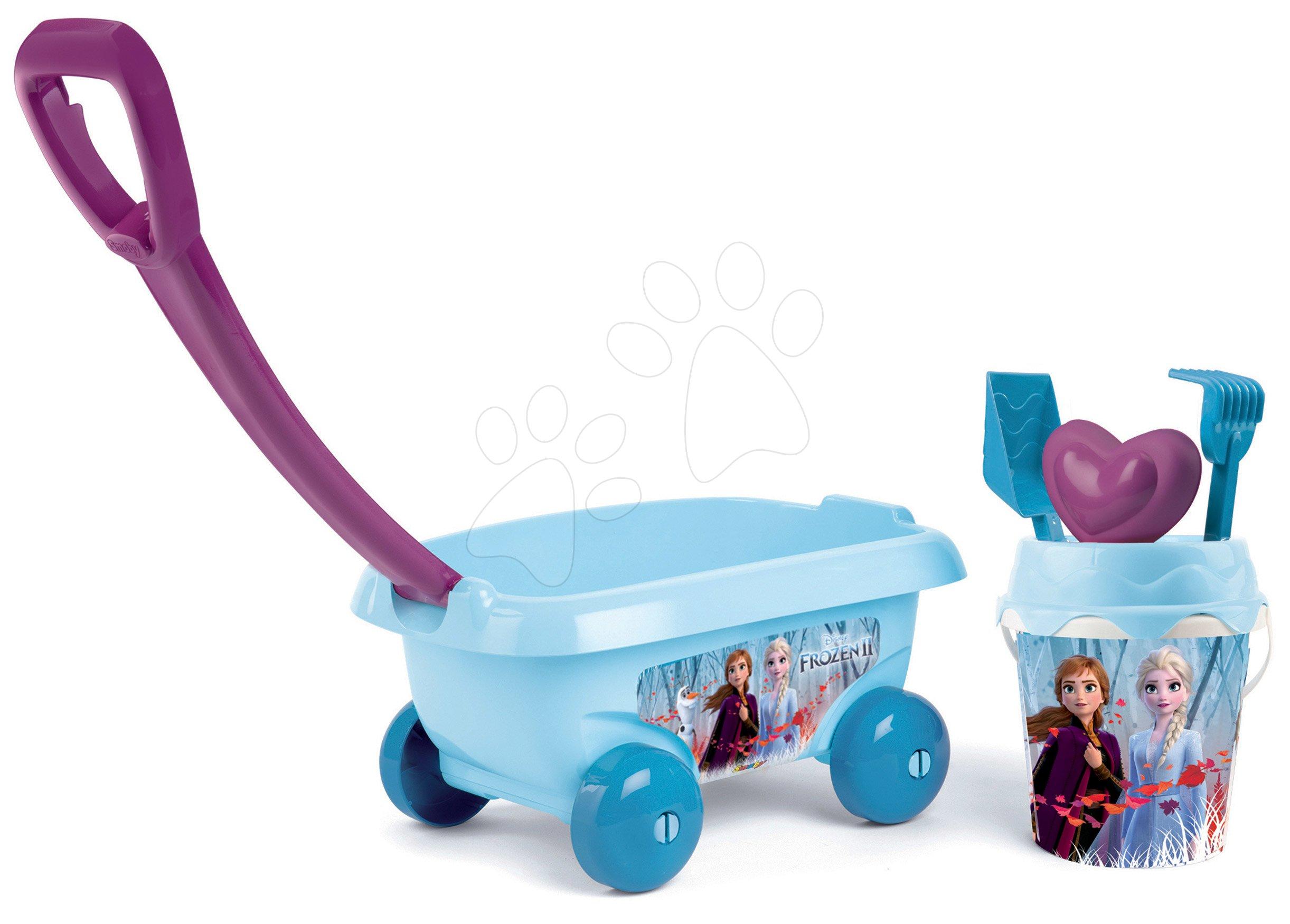 Húzható kiskocsi Jégvarázs Smoby csillámos vödör szettel homokozóba (vödör magassága 18 cm) 18 hó-tól