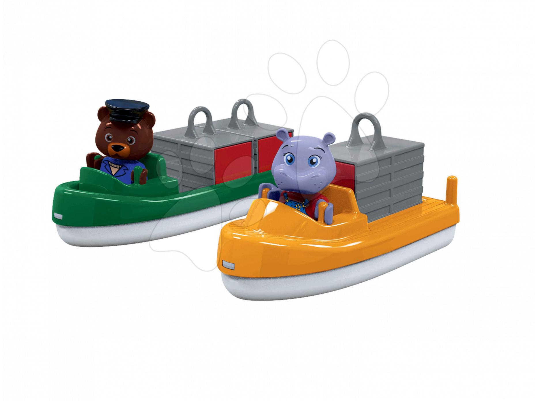 Sada kontajnerová a nákladná loď Aquaplay s hrošicou Wilmou a medveďom kapitánom Bo