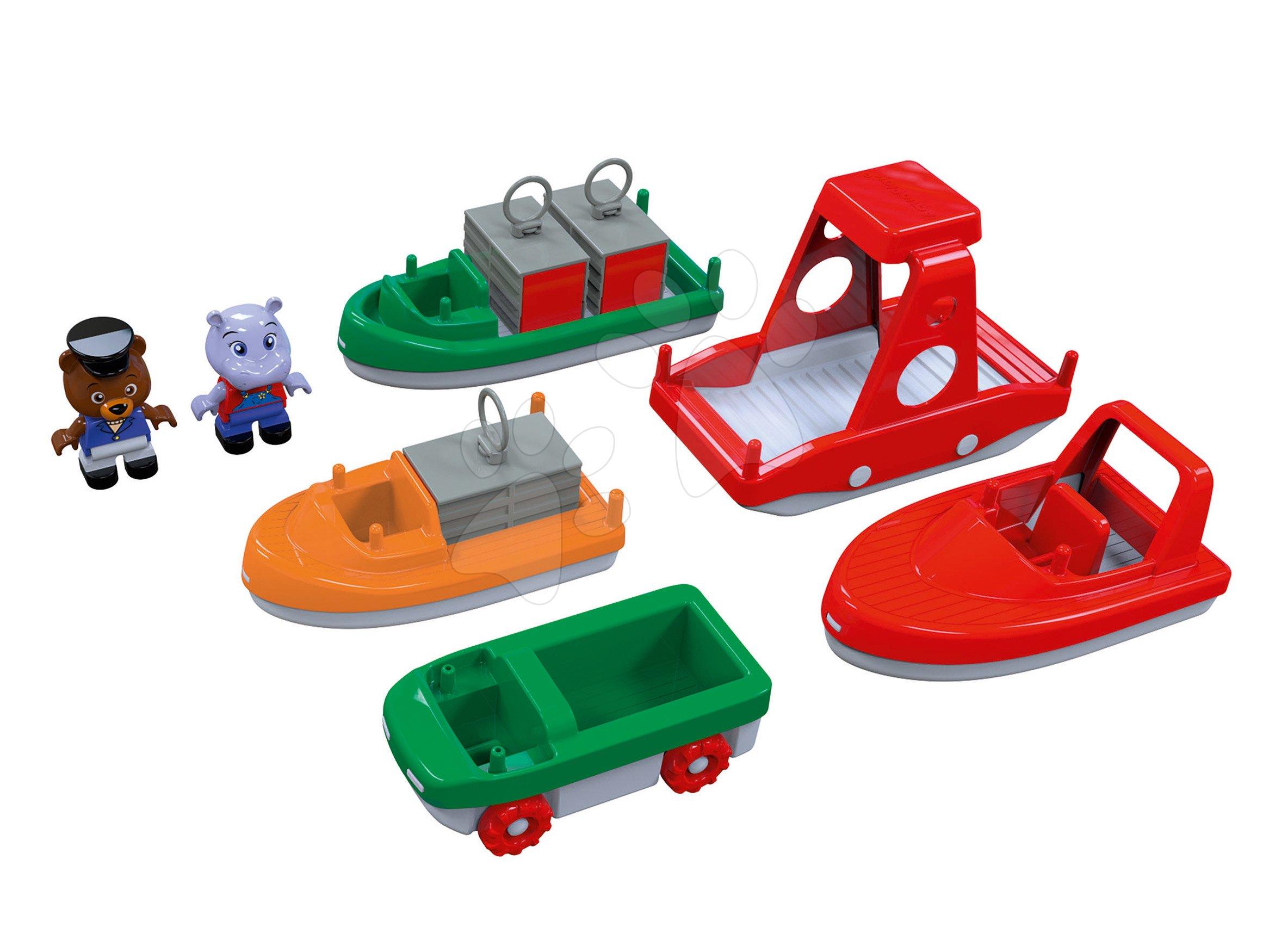 Lodě s kontejnery a motorové čluny AquaPlay s hrošíkem a medvědem 7 kusů