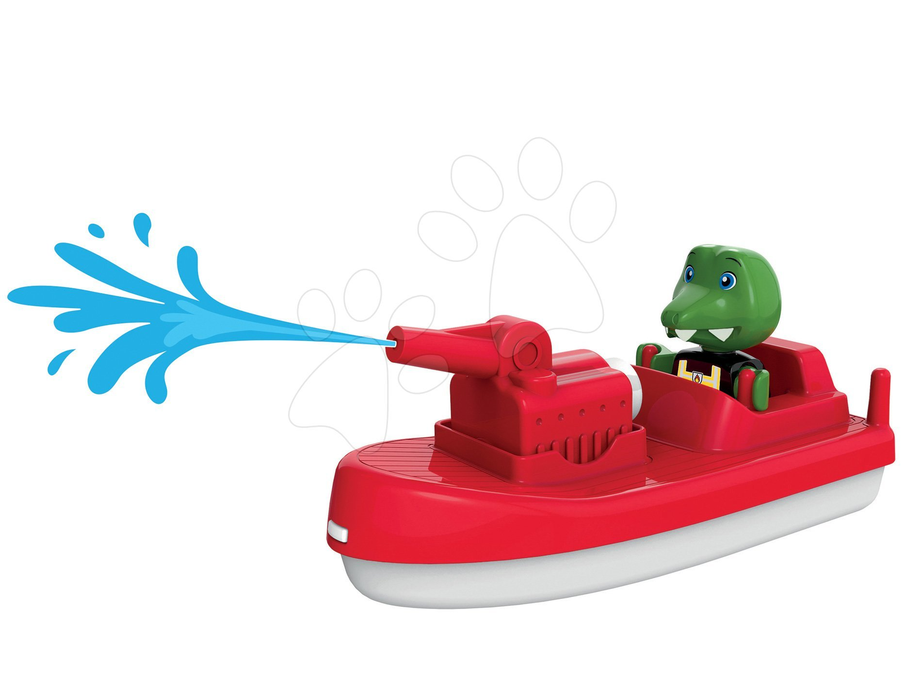 Loď s vodným delom Fireboat Aquaplay s 10 metrovým dostrelom a kapitánom krokodílom Nilsom (kompatibilné s Duplom)