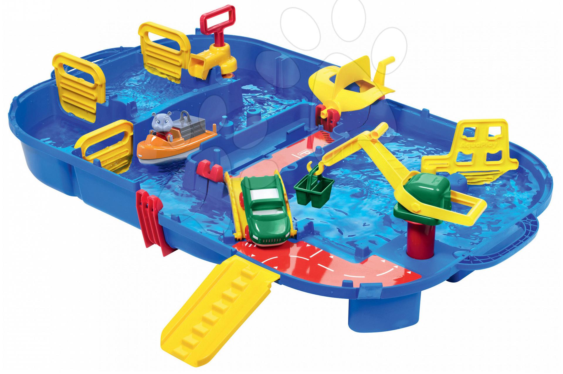 Vodná dráha Aquaplay LockBox v kufríku s hrošíkom Willmou a priehradou s vodnou pumpou