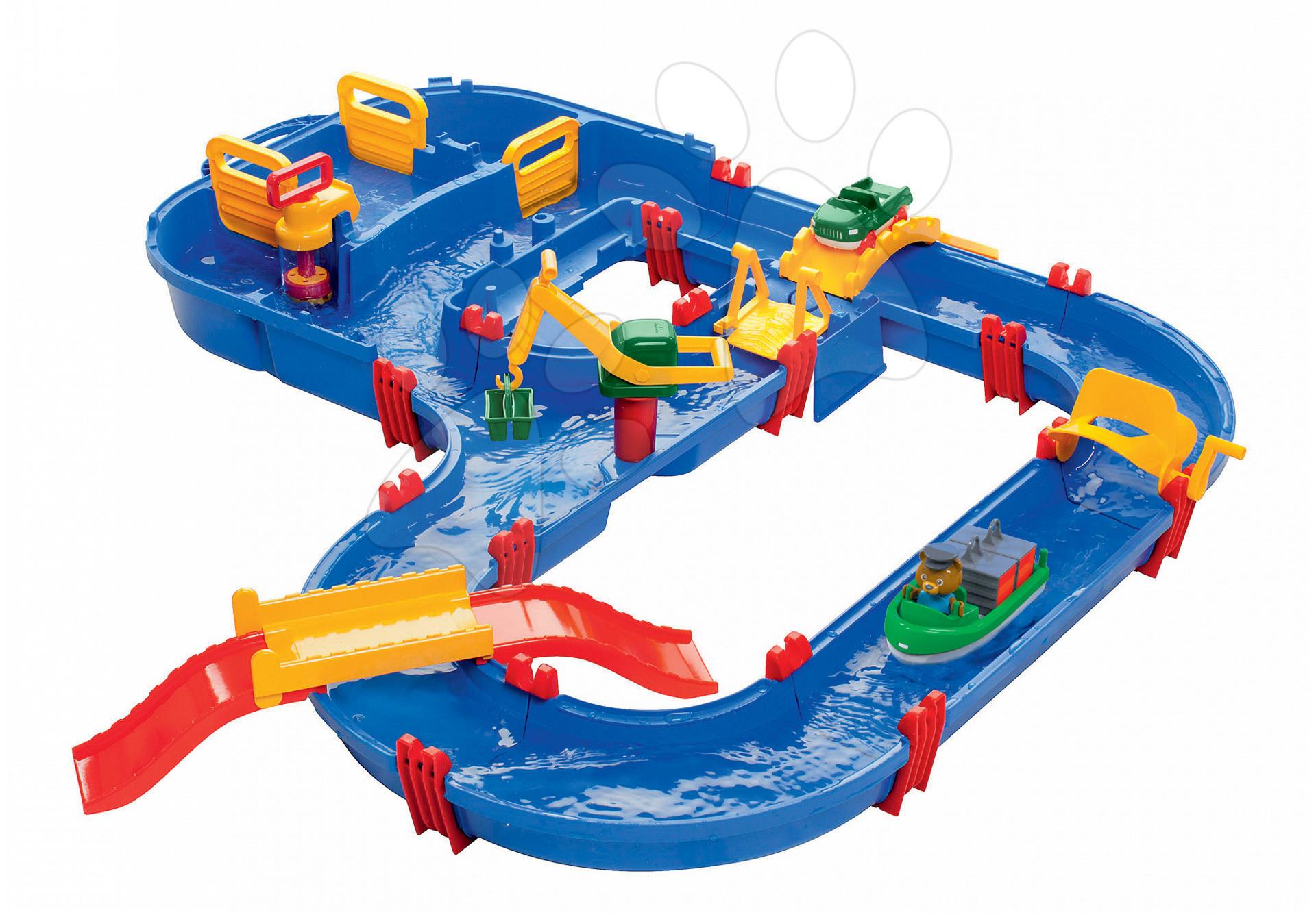 Vodná dráha Aquaplay MegaBridge s kapitánom Bo, mostom a priehradou s vodou pumpou