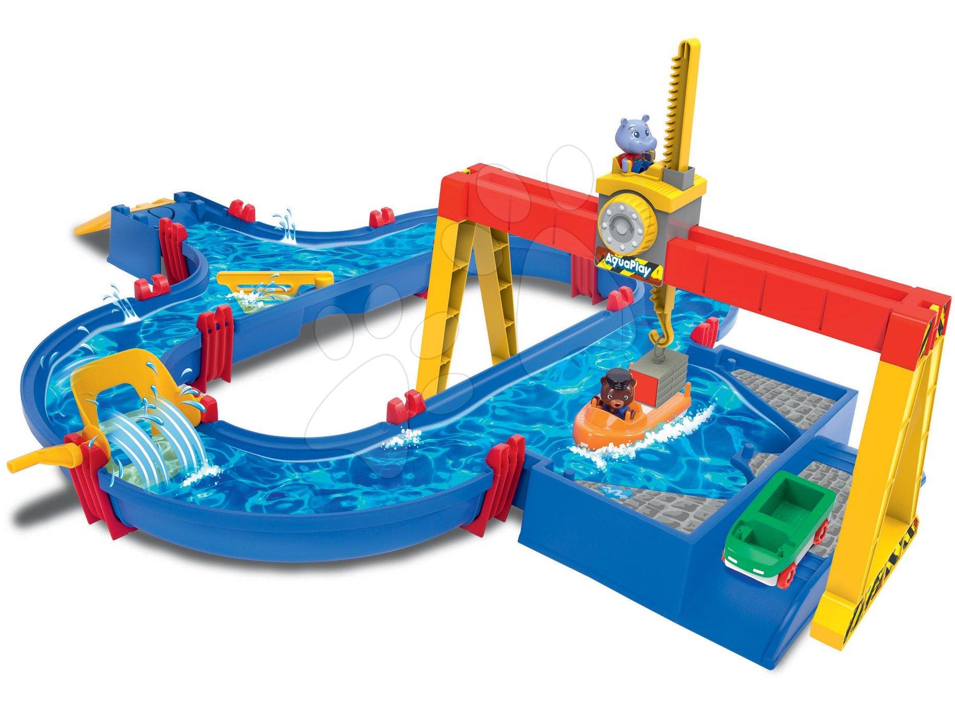 Vodná dráha Aquaplay Container Port s pohyblivým kontajnerovým žeriavom s 2 figúrkami a mlynom