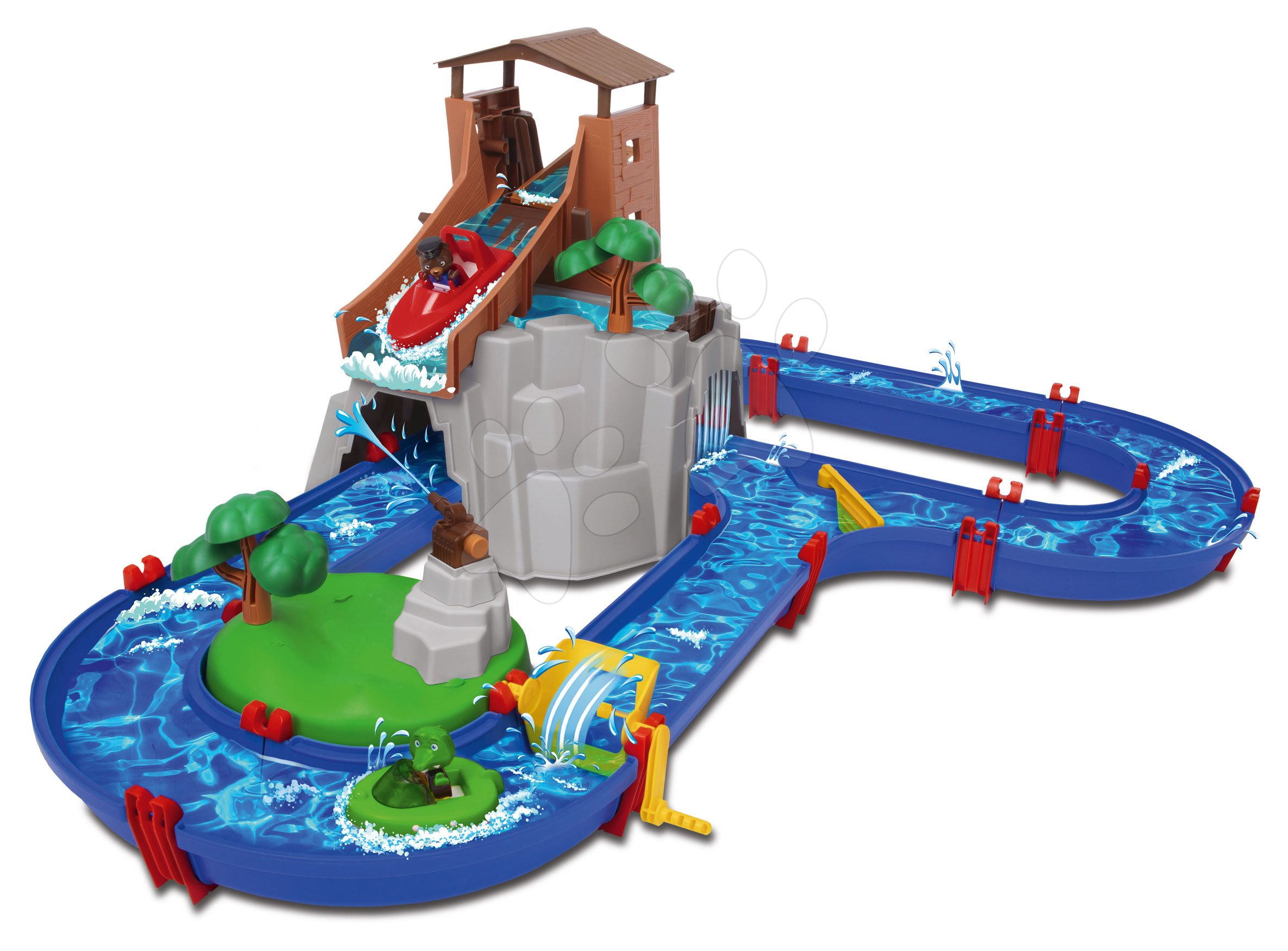 Piste de apă pentru copii - Pistă de apă AquaPlay Adventure Land aventuri sub cascadă cu 2 figurine în turnul de munte și cu tun de apă