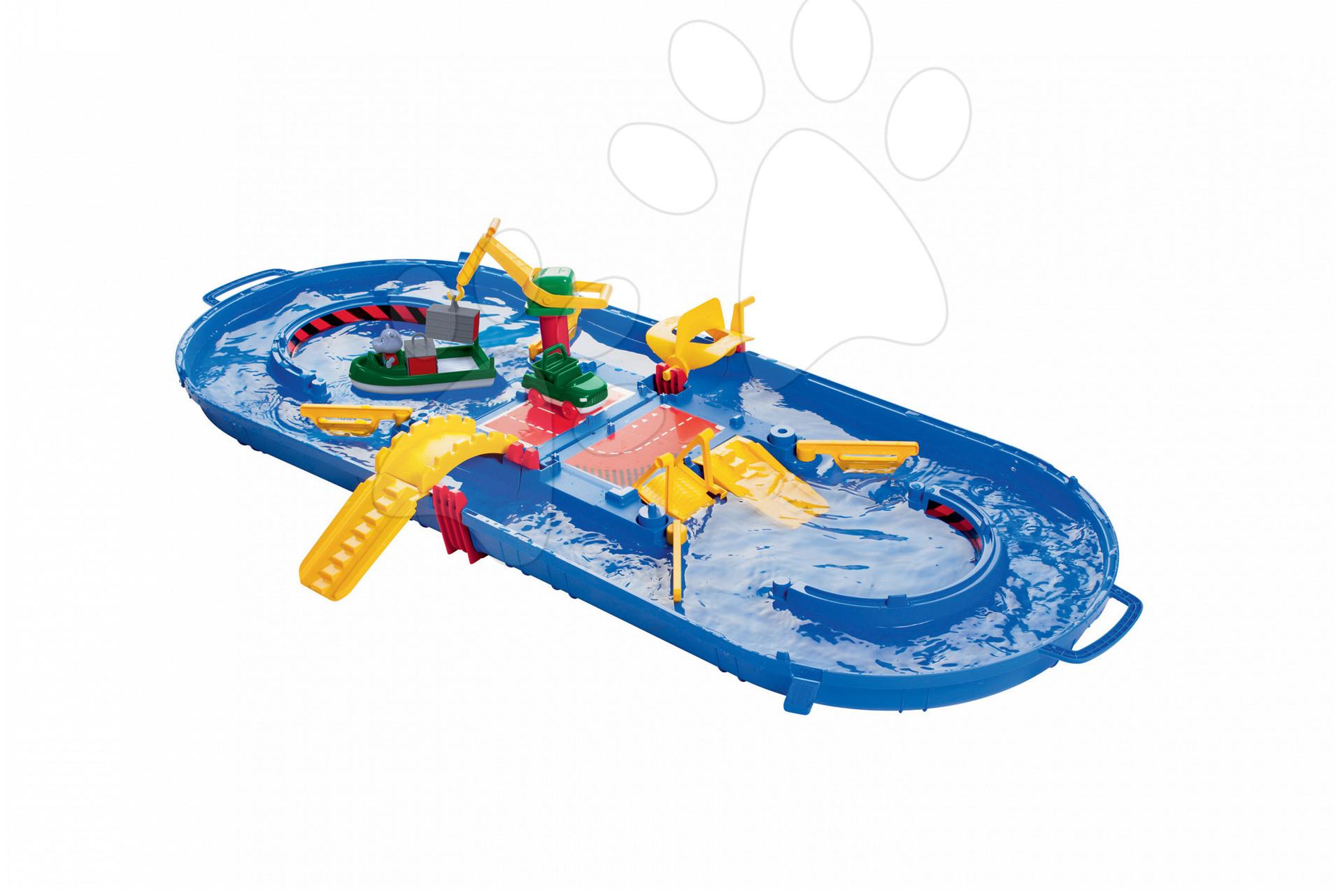 Vodní dráha AquaPlay AquaBox Big v kufříku s přístavem, vodní nádrží a hrošík Wilma