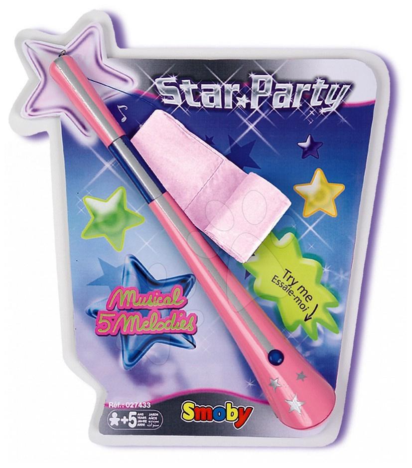Hůlka Star Party se stuhou Smoby a baterky a s 5 melodiemi