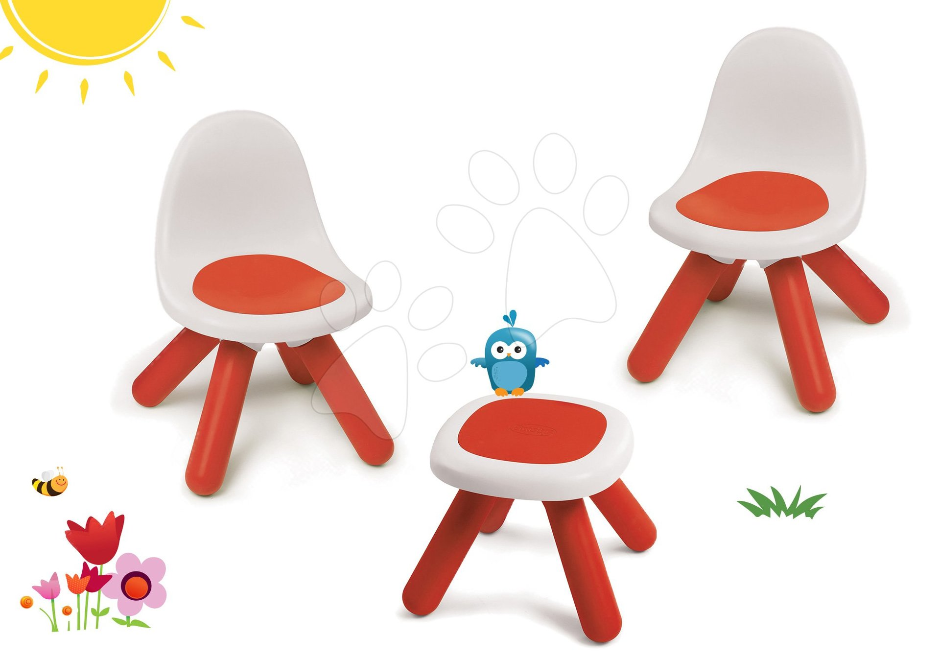 Smoby set stoličky pre deti KidChair a stolík červený 880100-4