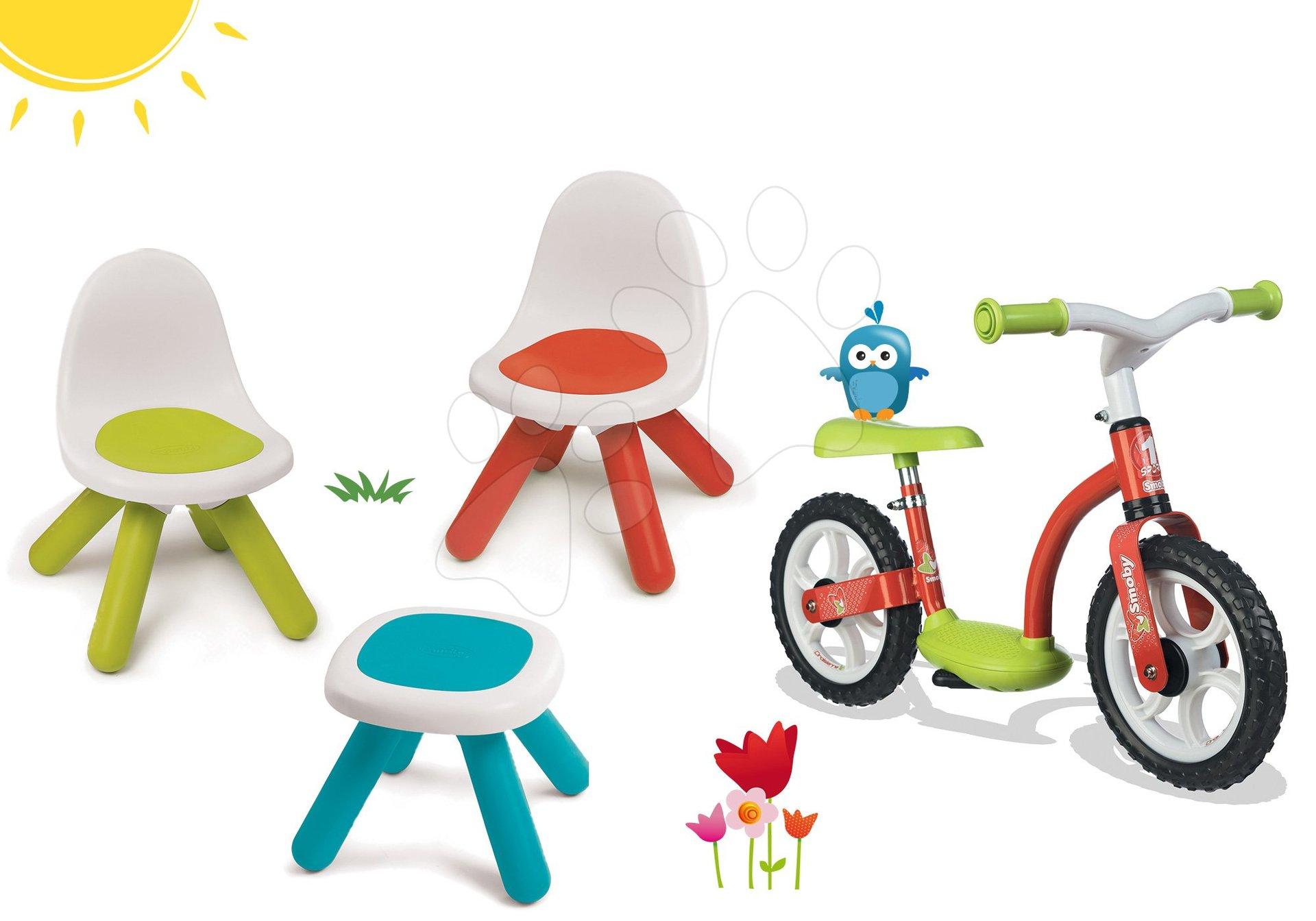 Smoby set dětský stůl Kidstool Smoby a 2 židle KidChair a balanční odrážedlo Learning Bike 880200A-10
