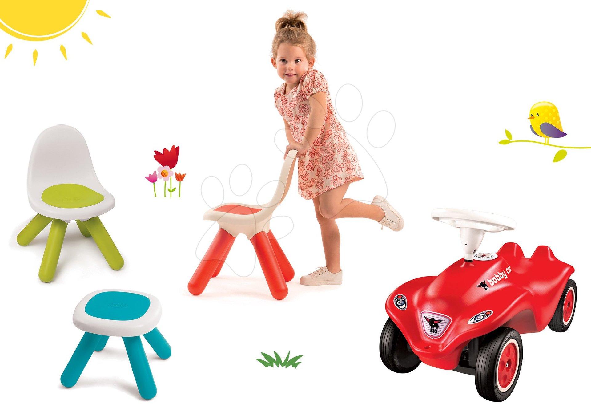 Smoby set dětský stůl Kidstool Smoby a 2 židle KidChair a odrážedlo New Bobby s klaksonem 880200A-12