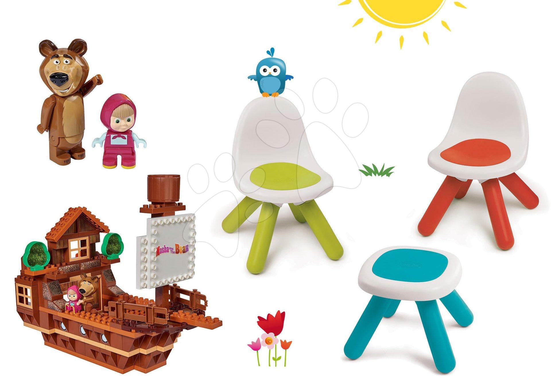 Smoby set Piknik stolík s dvoma stoličkami KidChair a stavebnica PlayBIG Bloxx Máša a medveď 880200A-13