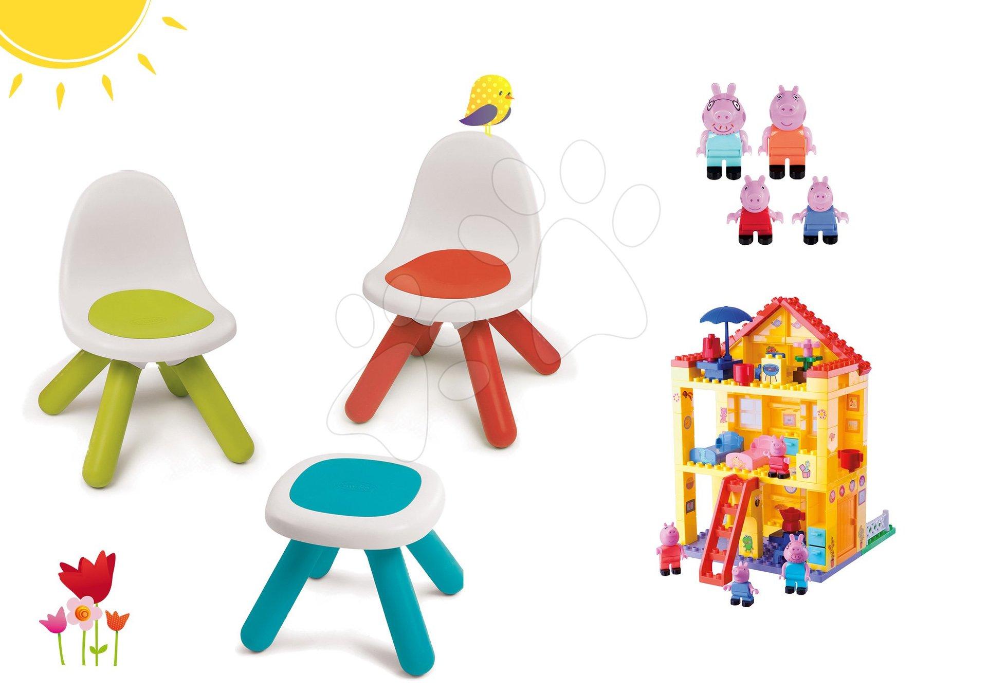 Dětský záhradní nábytek sety - Set stůl Kidstool Smoby a 2 židle KidChair, stavebnice Peppa Pig v domečku od 24 měsíců