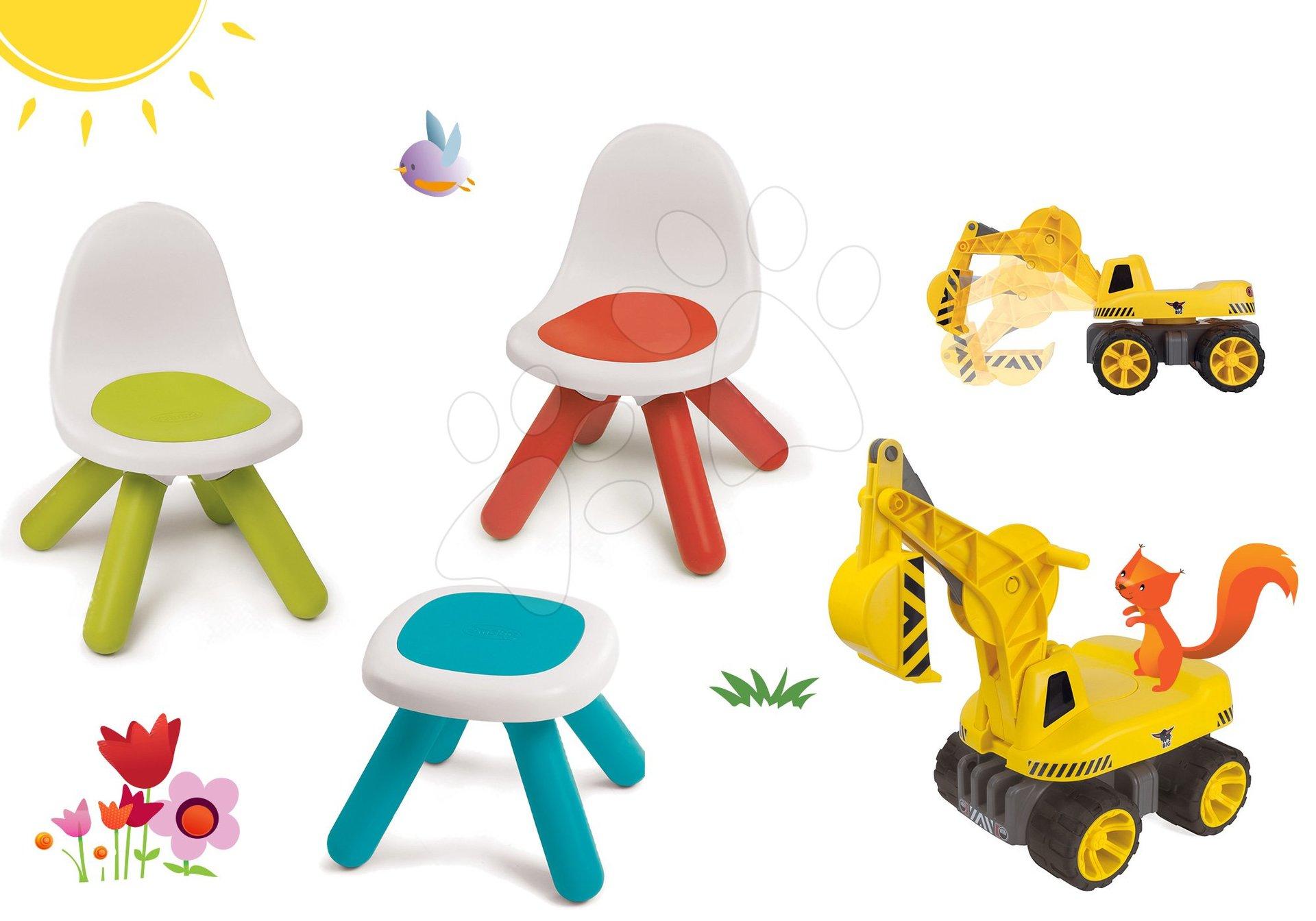 Smoby set dětský stůl Kidstool Smoby, 2 židle KidChair a bagr Maxi Power se sedadlem 880200A-15