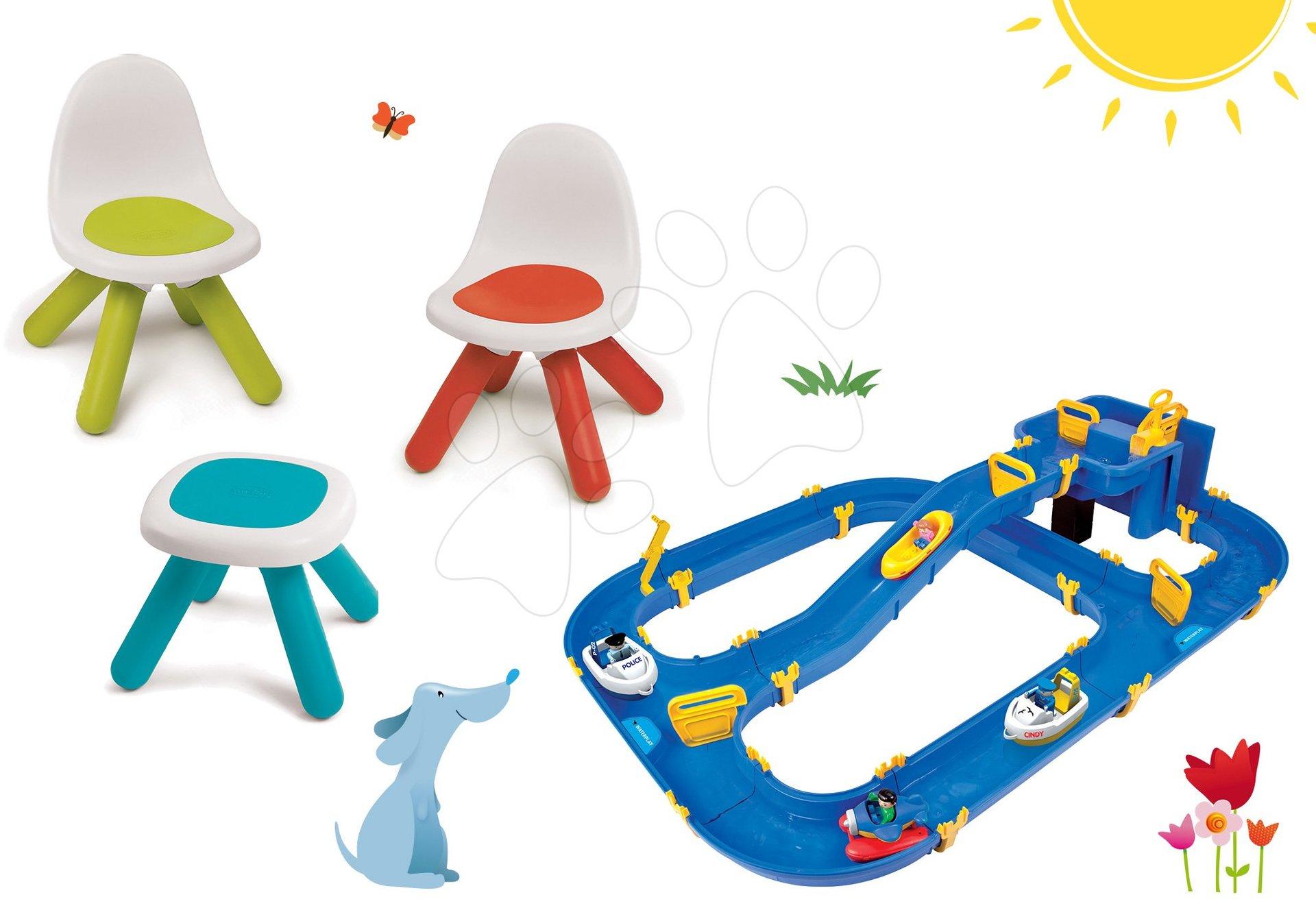 Set stůl Kidstool Smoby a 2 židle KidChair, vodní hra Waterplay Niagara, lodičky od 24 měsíců