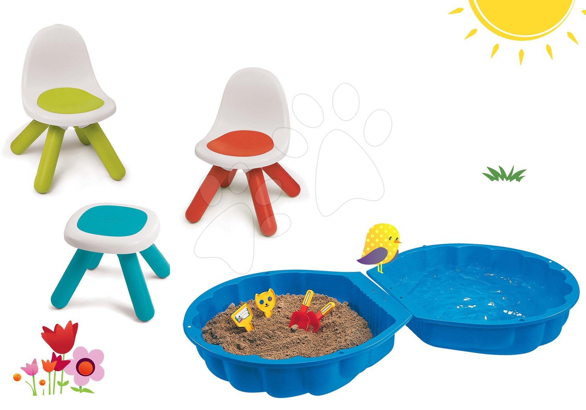 Smoby set dětský stůl Kidstool Smoby a 2 židle KidChair a dvoudílné pískoviště Mušle 880200A-17