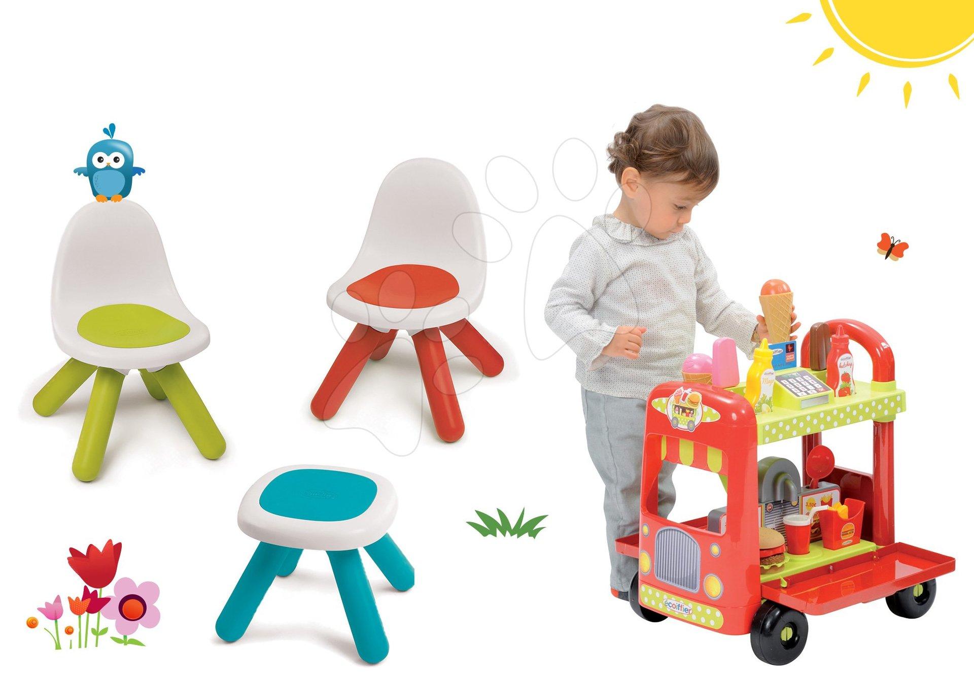Set stůl Kidstool Smoby židle KidChair a zmrzlinářský vozík s hamburgery od 24 měsíců