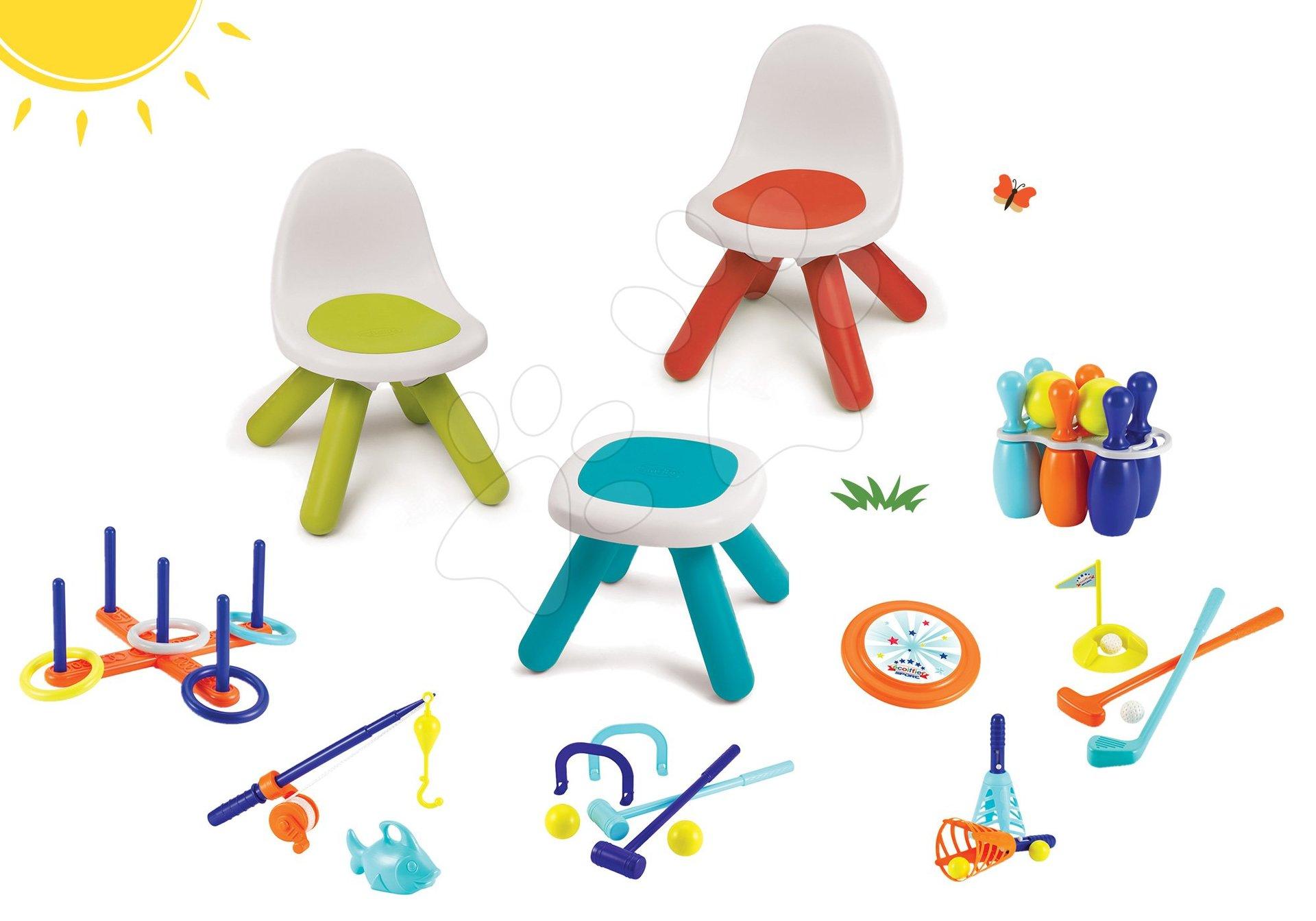 Set stůl Kidstool  Smoby a 2 židle KidChair a sportovní set 7 her od 24 měsíců