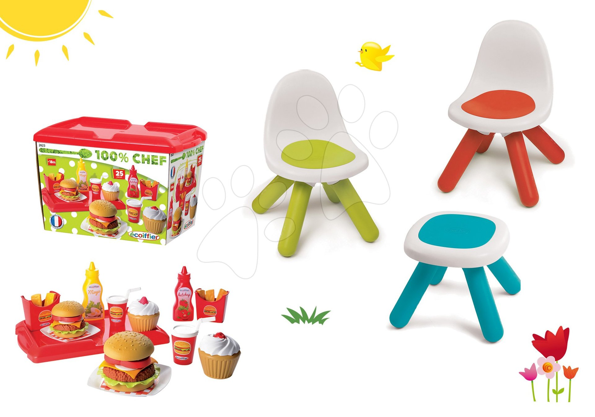 Smoby set dětský stůl Kidstool Smoby a 2 židle KidChair a set hamburgerů 100% Chef 880200A-6