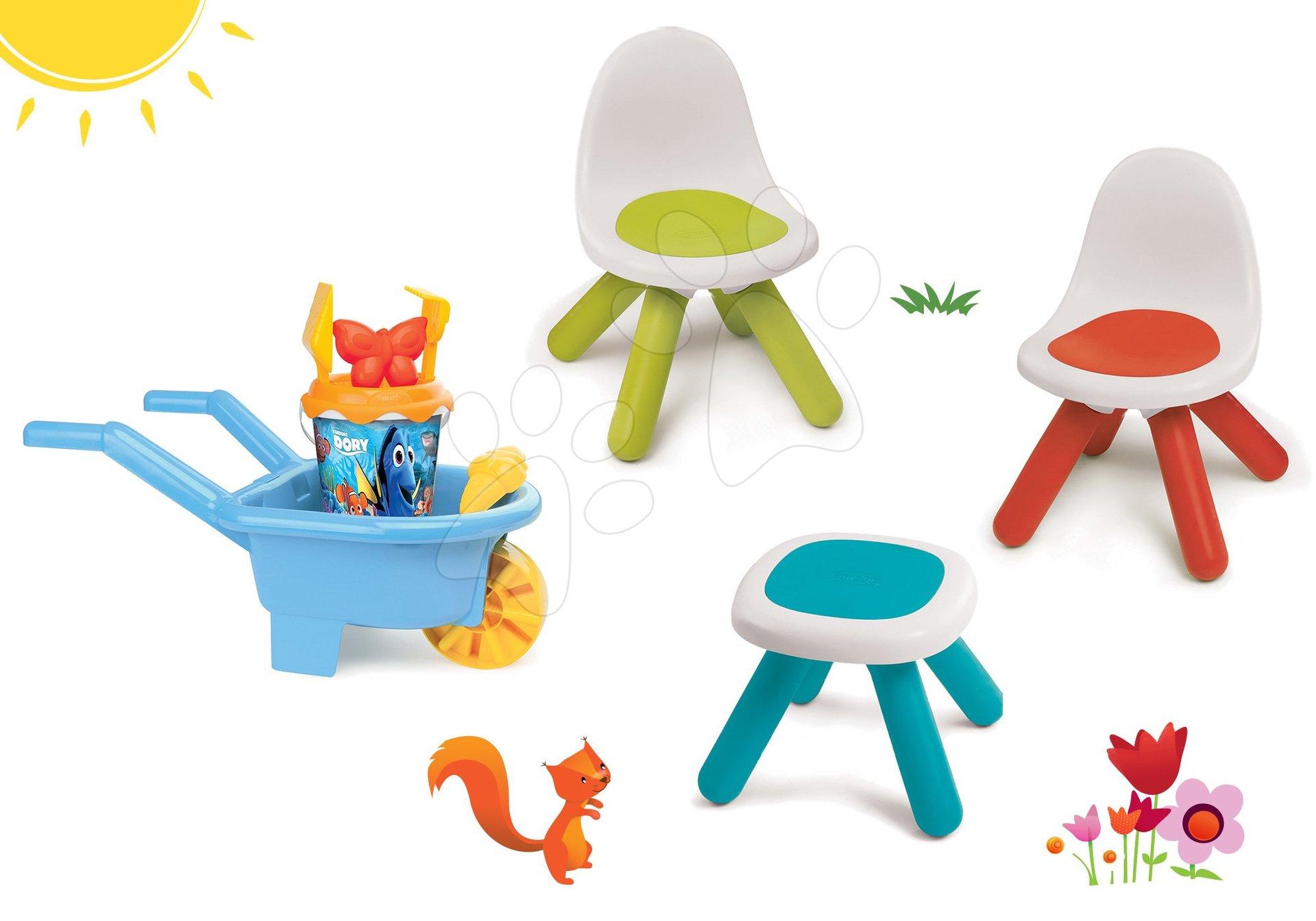 Set stůl Kidstool  Smoby a 2 židle KidChair, kolečko s kbelík setem Hledá se Dory od 24 měsíců