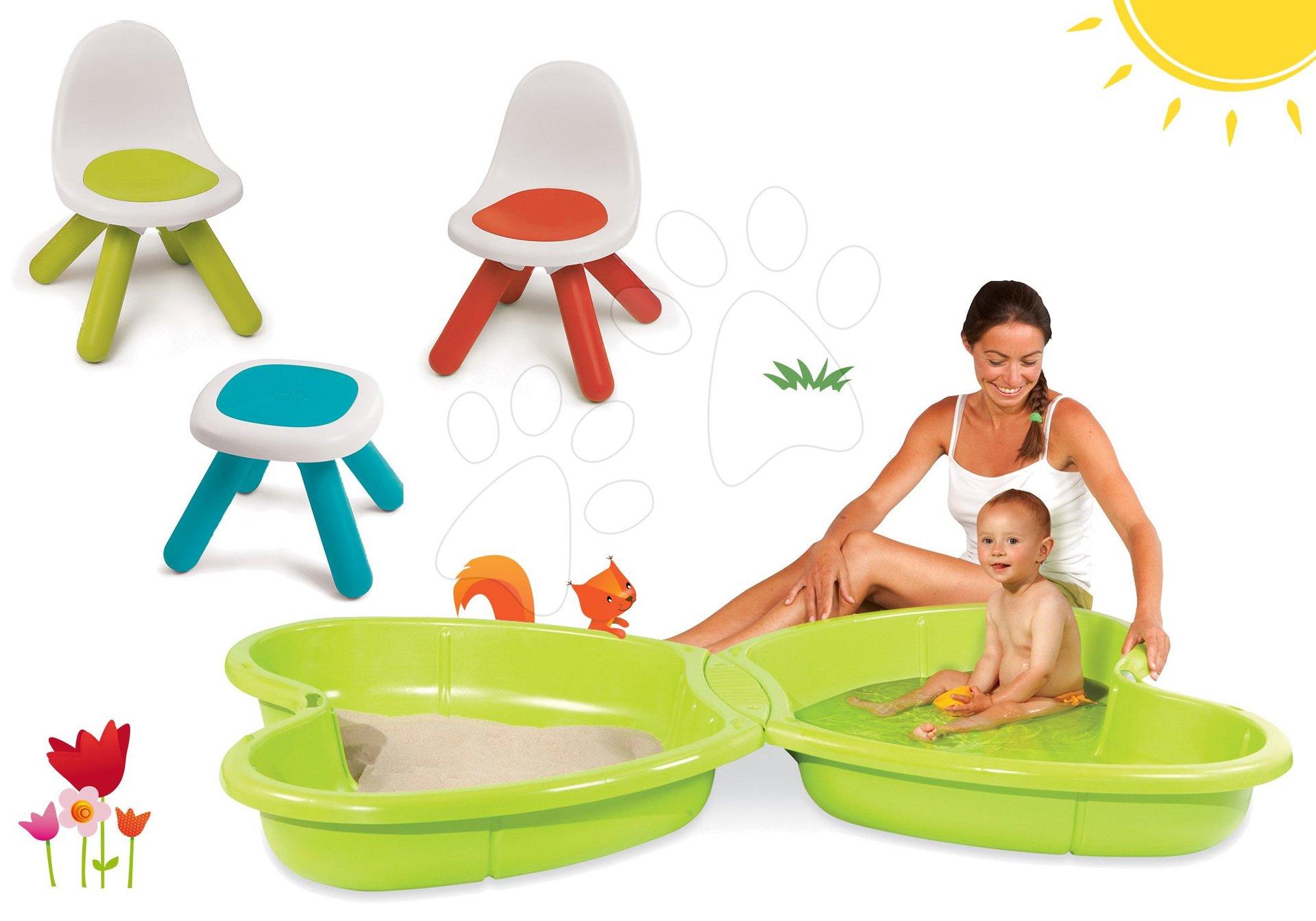 Smoby set dětský stůl Kidstool Smoby, 2 židle KidChair a pískoviště Motýl s vodotryskem 880200A-8