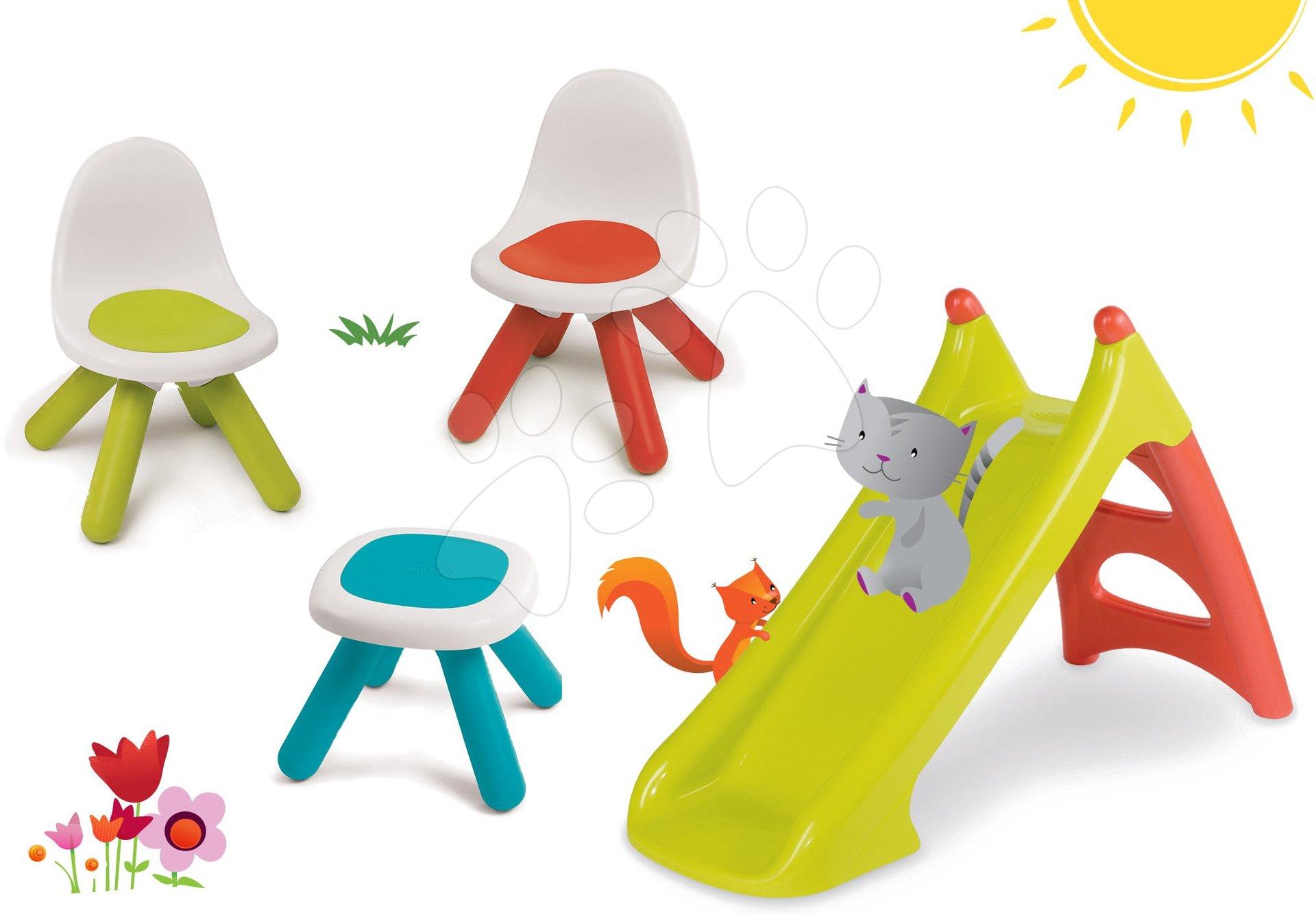 Smoby set dětský stůl Kidstool Smoby, 2 židle KidChair a skluzavka Toboggan XS s vodou 880200A-9