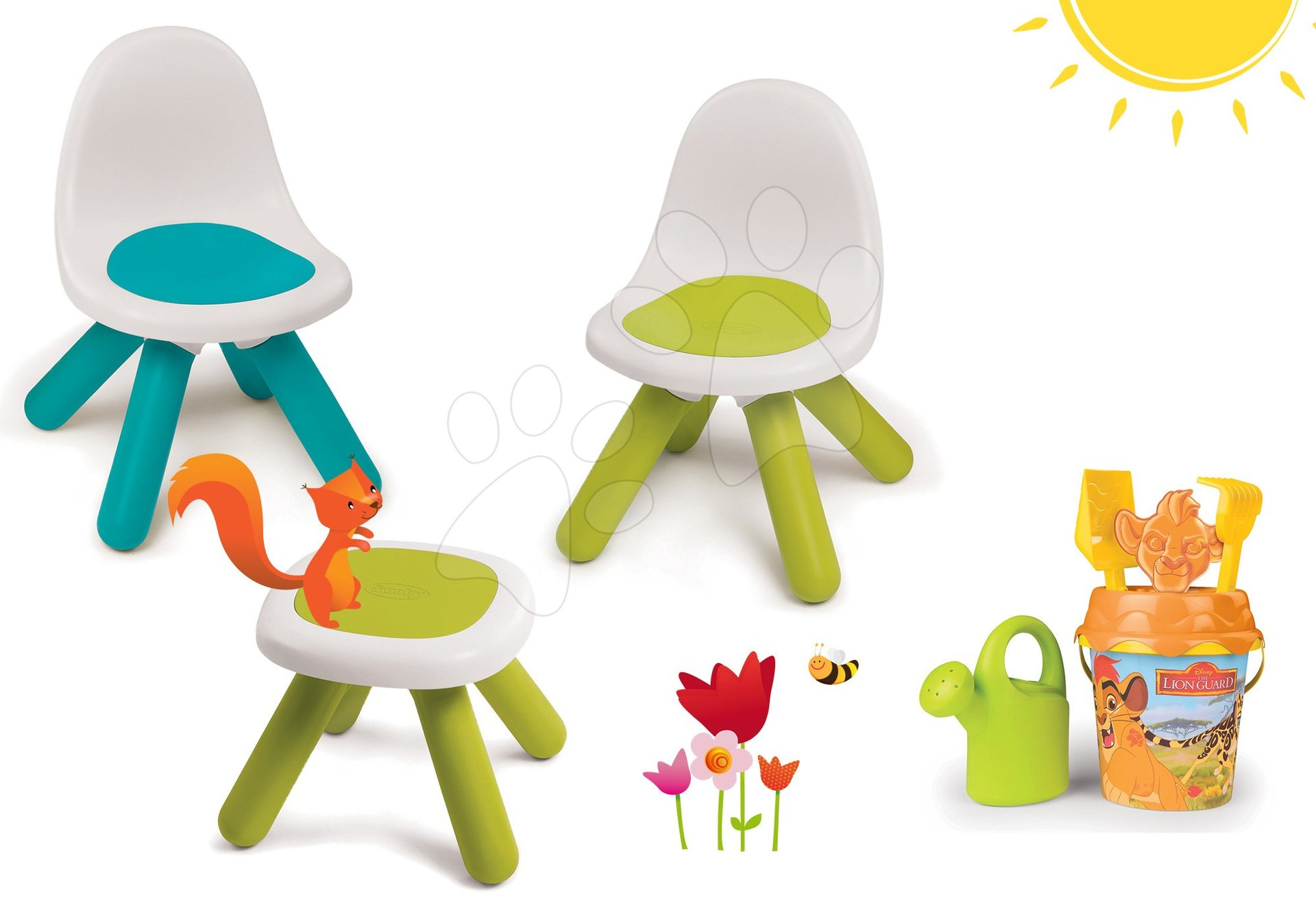 Smoby dětský stůl Kidstool s židlemi a kbelík set 880200B-1