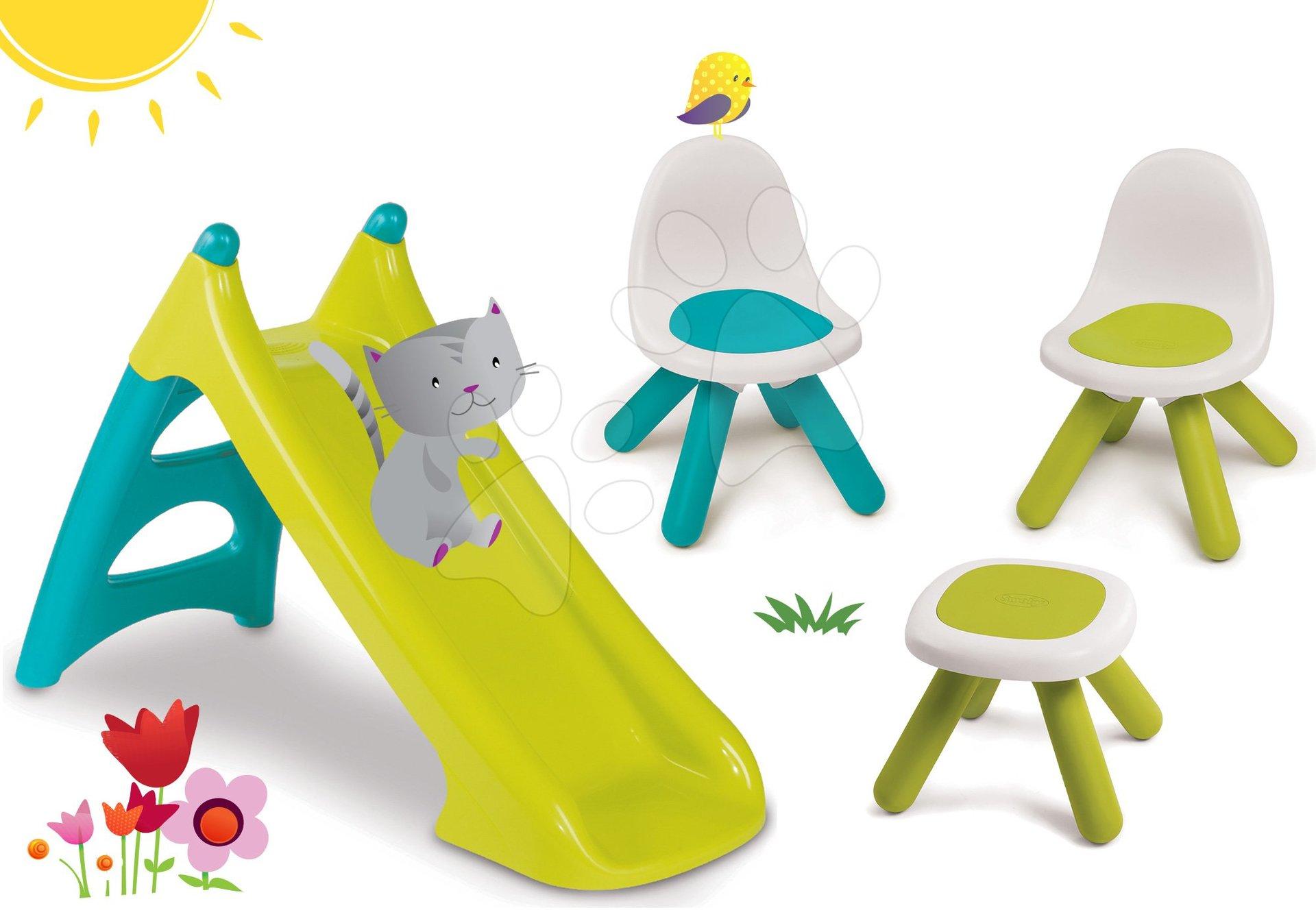 Smoby set detský stôl Piknik a 2 stoličky KidChair a šmykľavka Toboggan XS 880200B-2