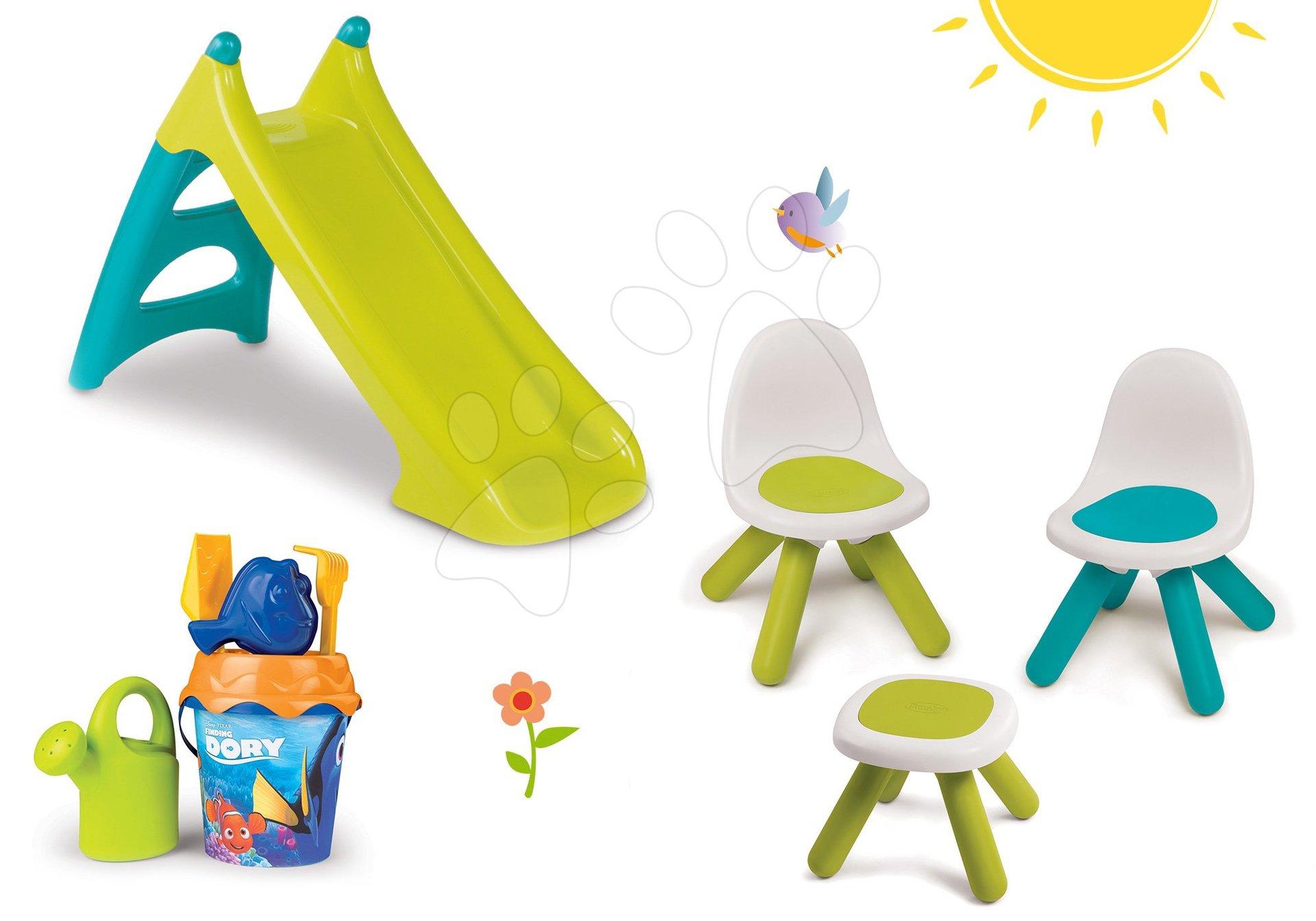Set stôl Piknik Smoby s 2 stoličkami KidChair a šmykľavka Toboggan XS dlhá 90 cm a Disney vedro set od 24 mes