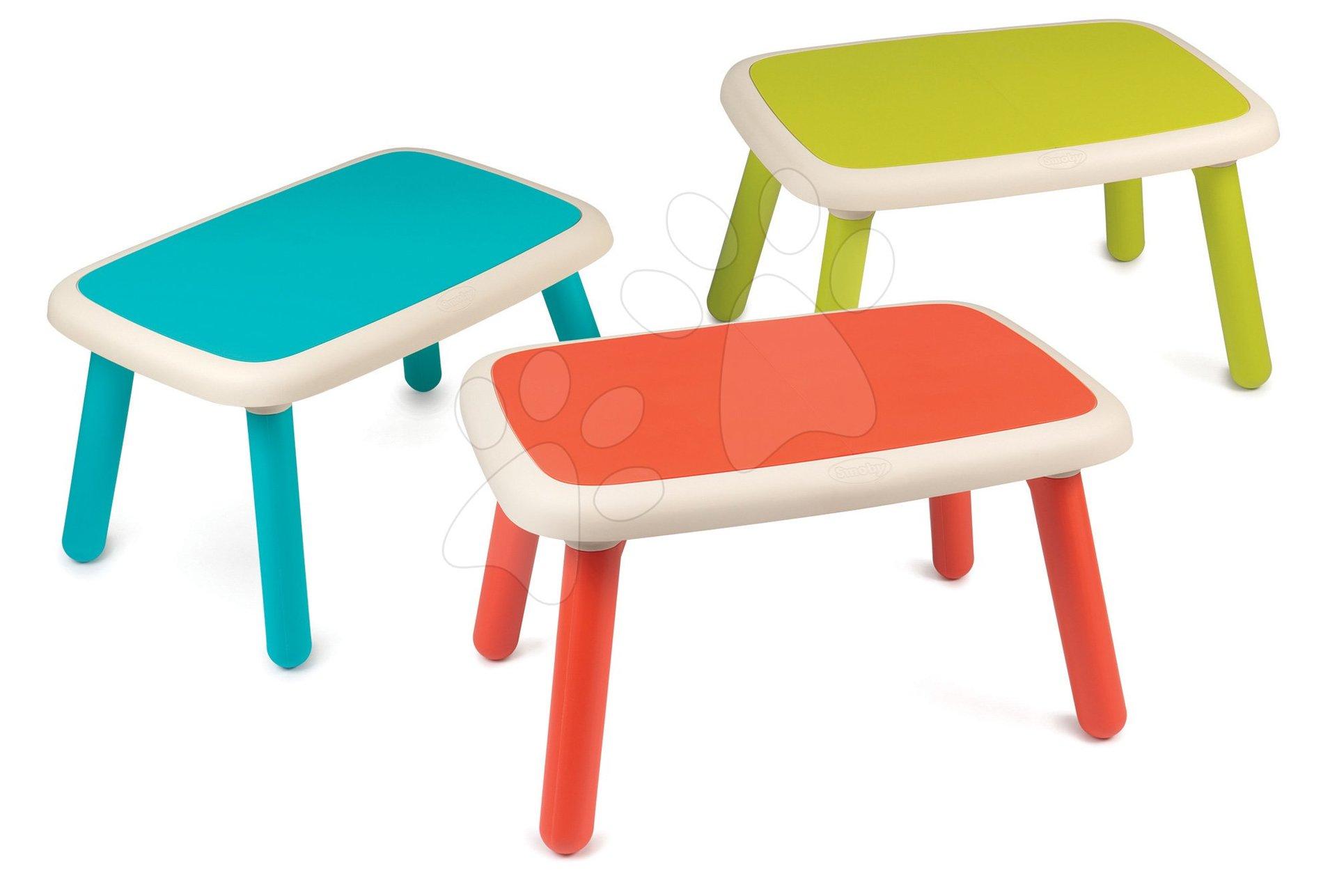 Sada 3 stolů pro děti KidTable Smoby zelená/modrá/červená s UV filtrem od 18 měsíců