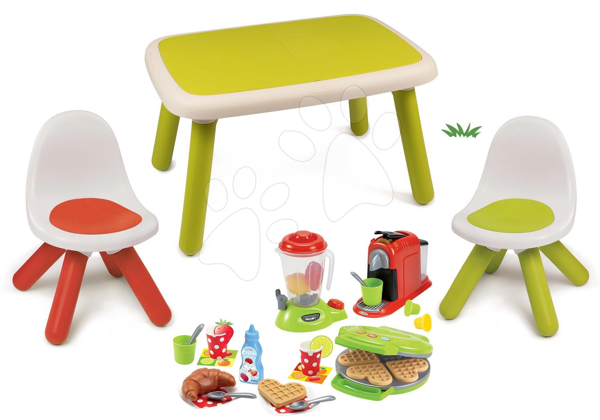 Set stôl pre deti KidTable zelený Smoby s dvoma stoličkami s UV filtrom a vaflovač s kávovarom a mixérom