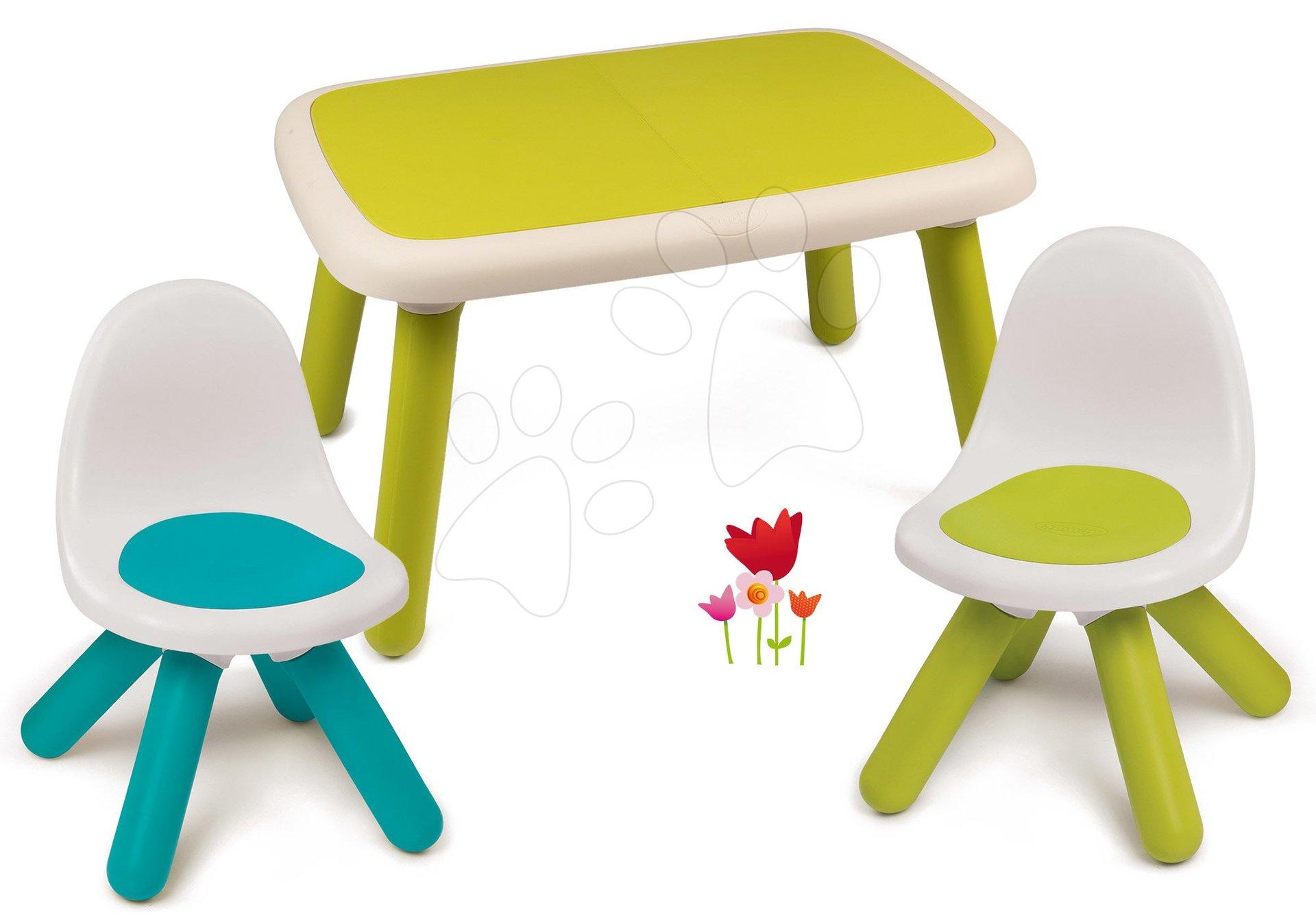 Set stôl pre deti KidTable zelený Smoby s dvoma stoličkami s UV filtrom