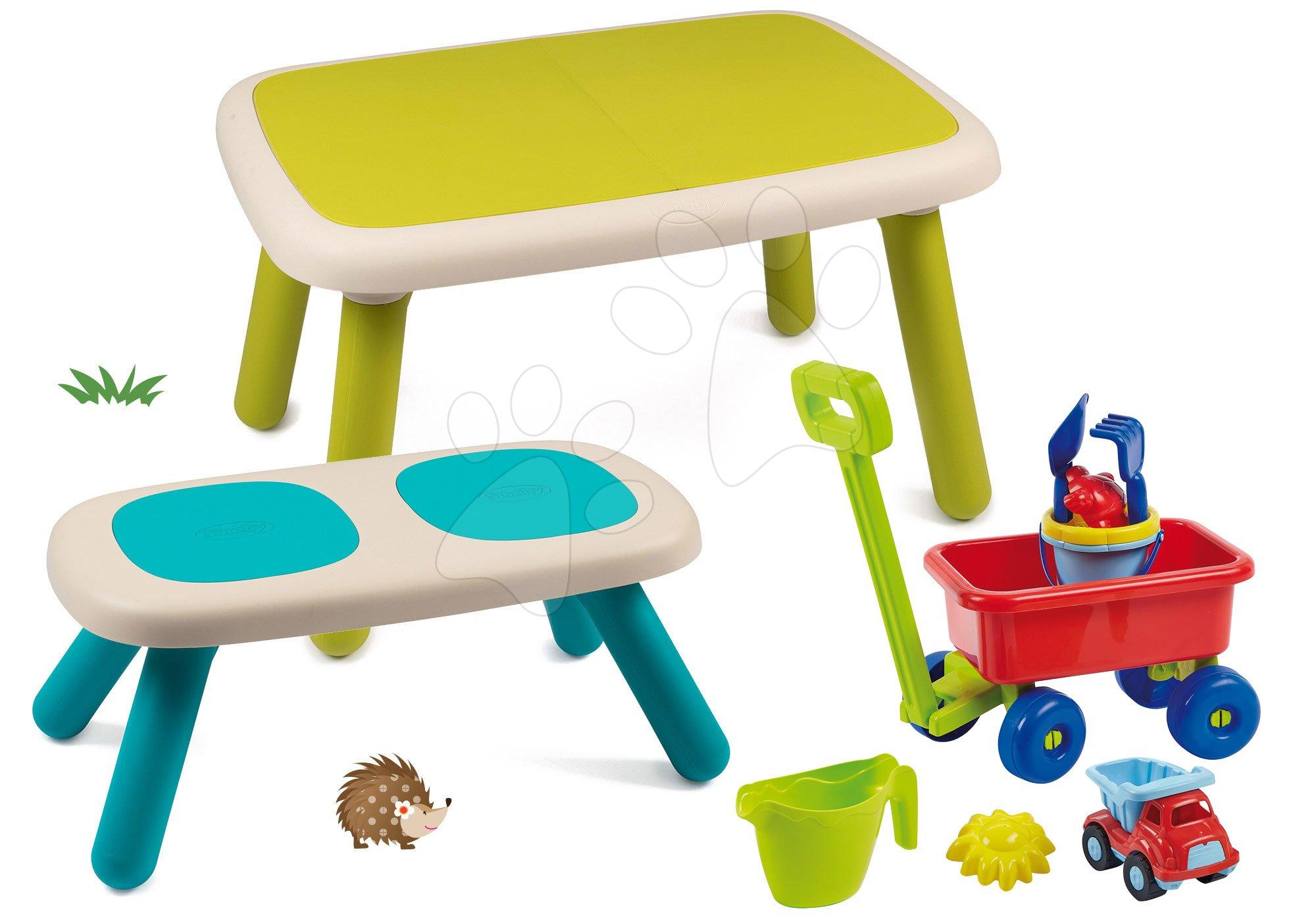 Set stôl pre deti KidTable zelený Smoby s lavicou s UV filtrom a vozíkom na ťahanie