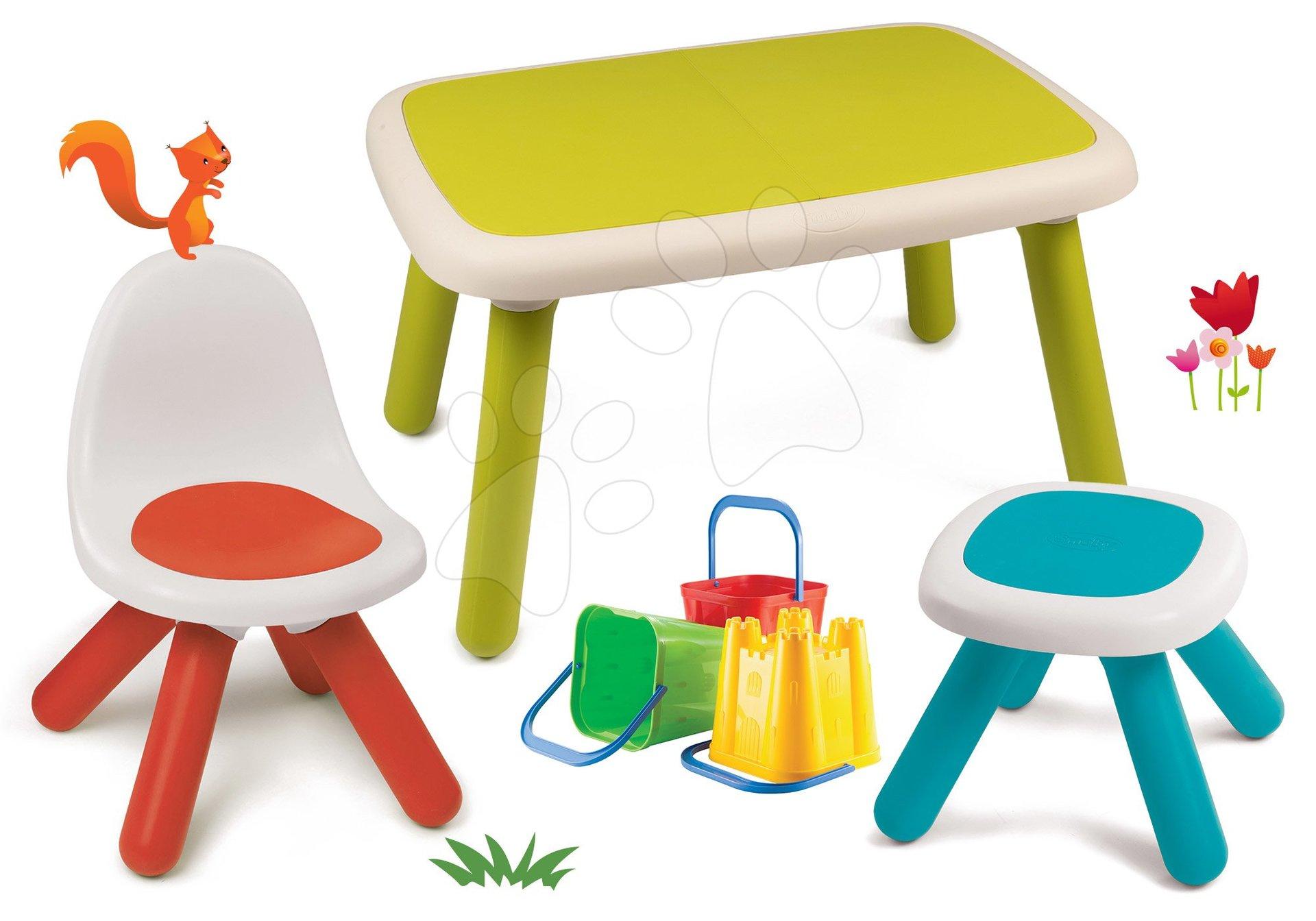 Set stôl pre deti KidTable zelený Smoby so stoličkou a stolčekom s UV filtrom s vedrom do piesku