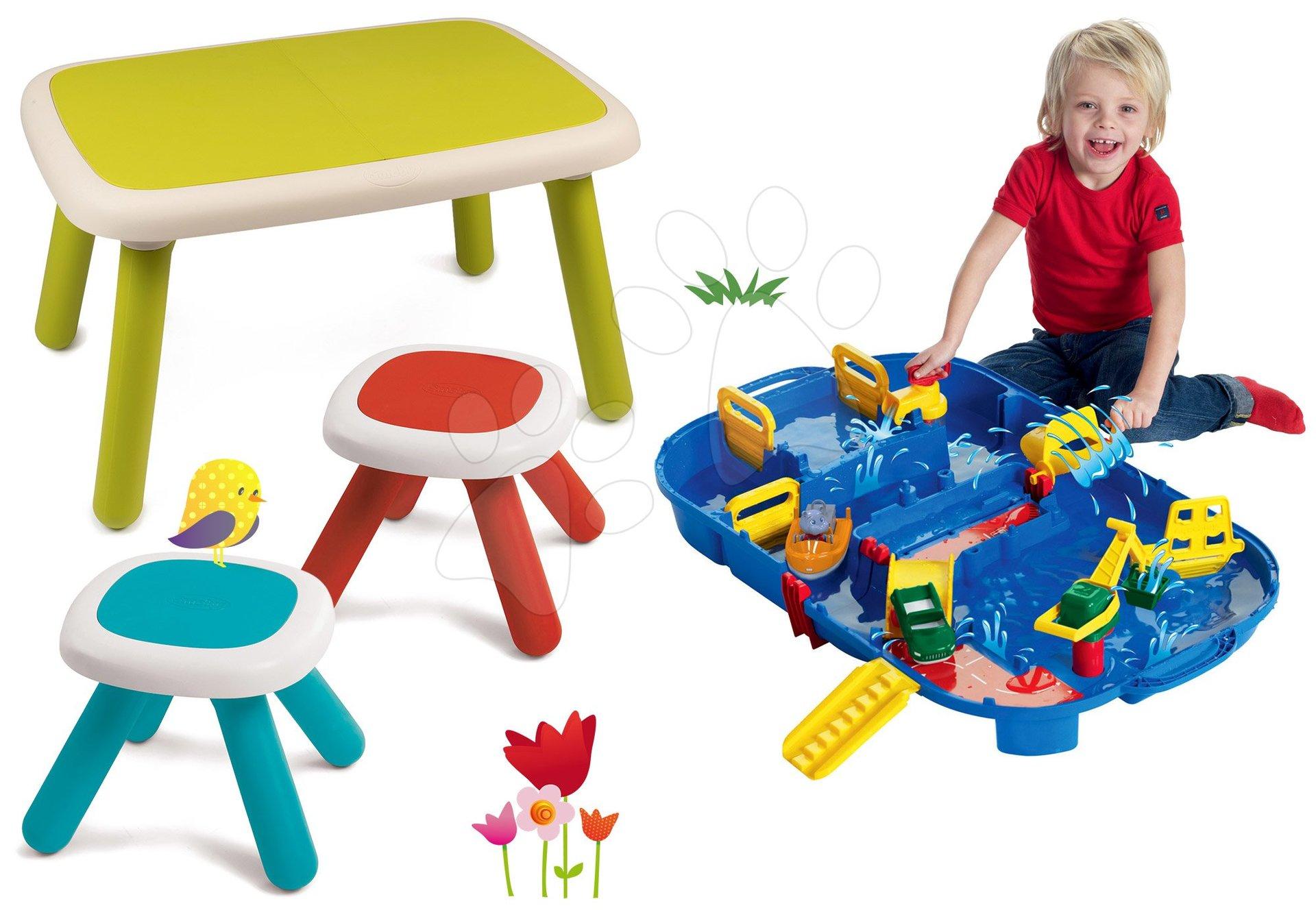 Set stôl pre deti KidTable zelený Smoby s dvoma stolčekmi a vodná dráha LockBox
