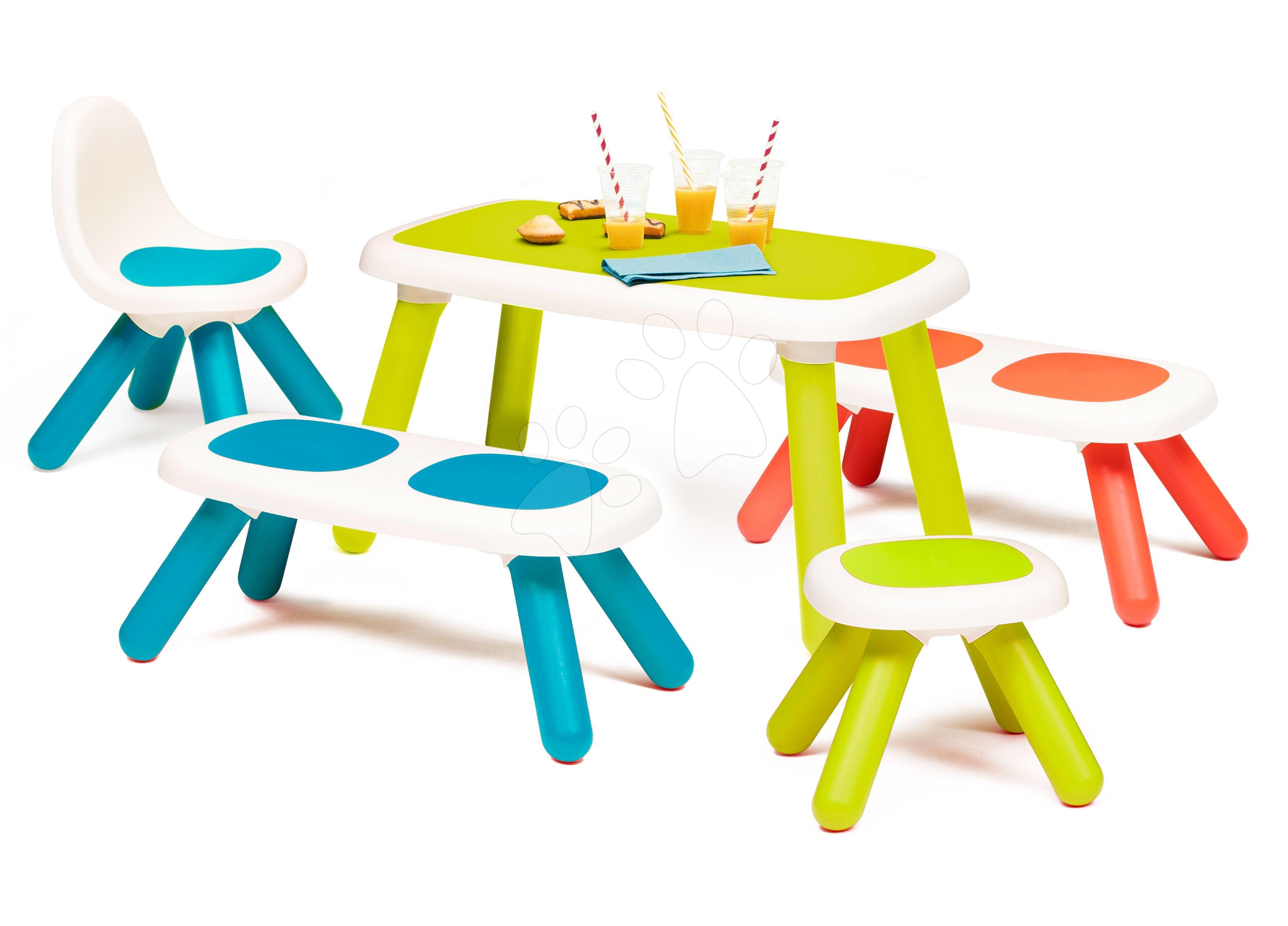 Set stôl pre deti KidTable Smoby zelený s dvoma lavičkami modrou stoličkou a zelenou taburetkou
