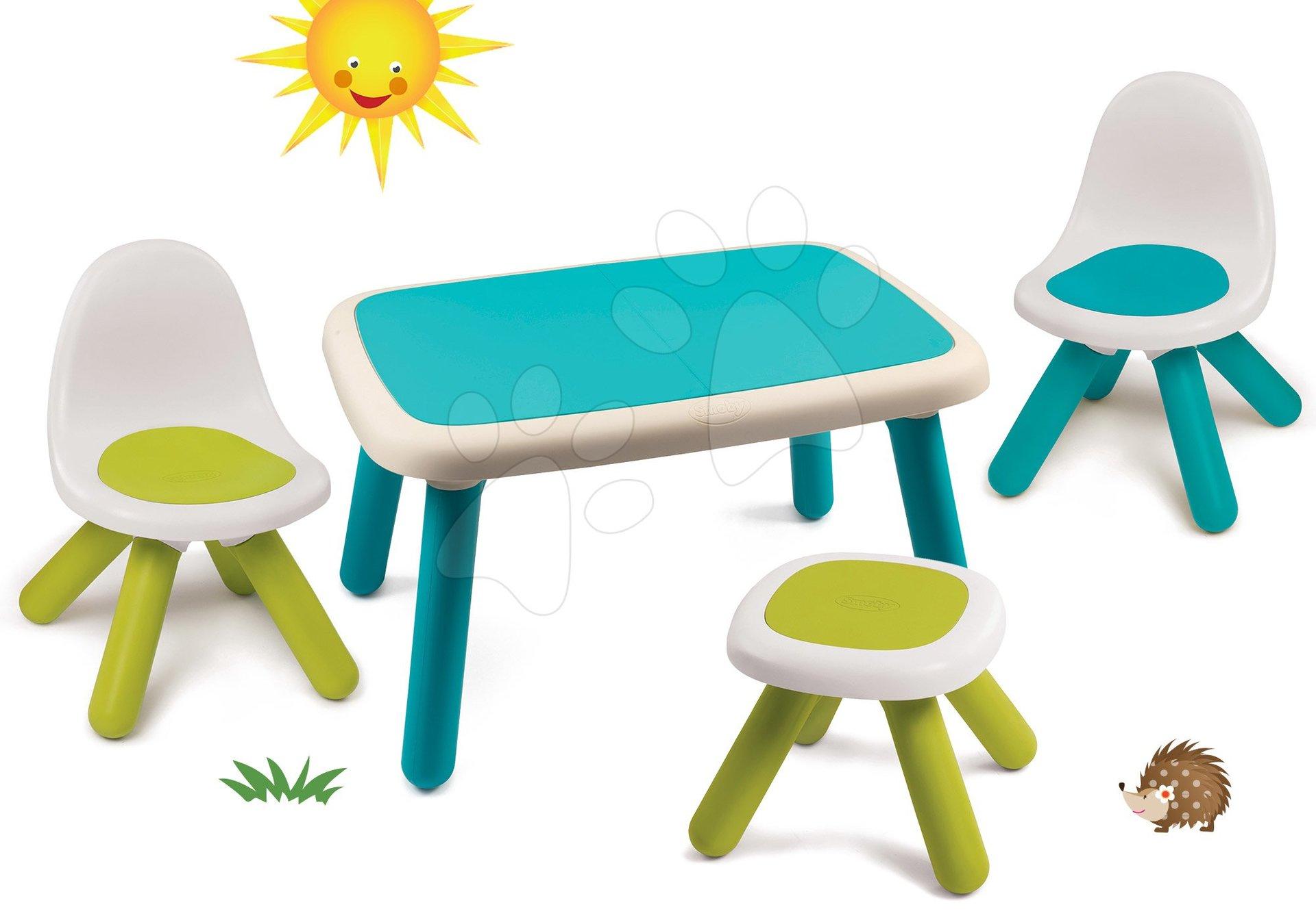 Set stôl pre deti KidTable modrý Smoby s dvoma stoličkami a stolčekom s UV filtrom