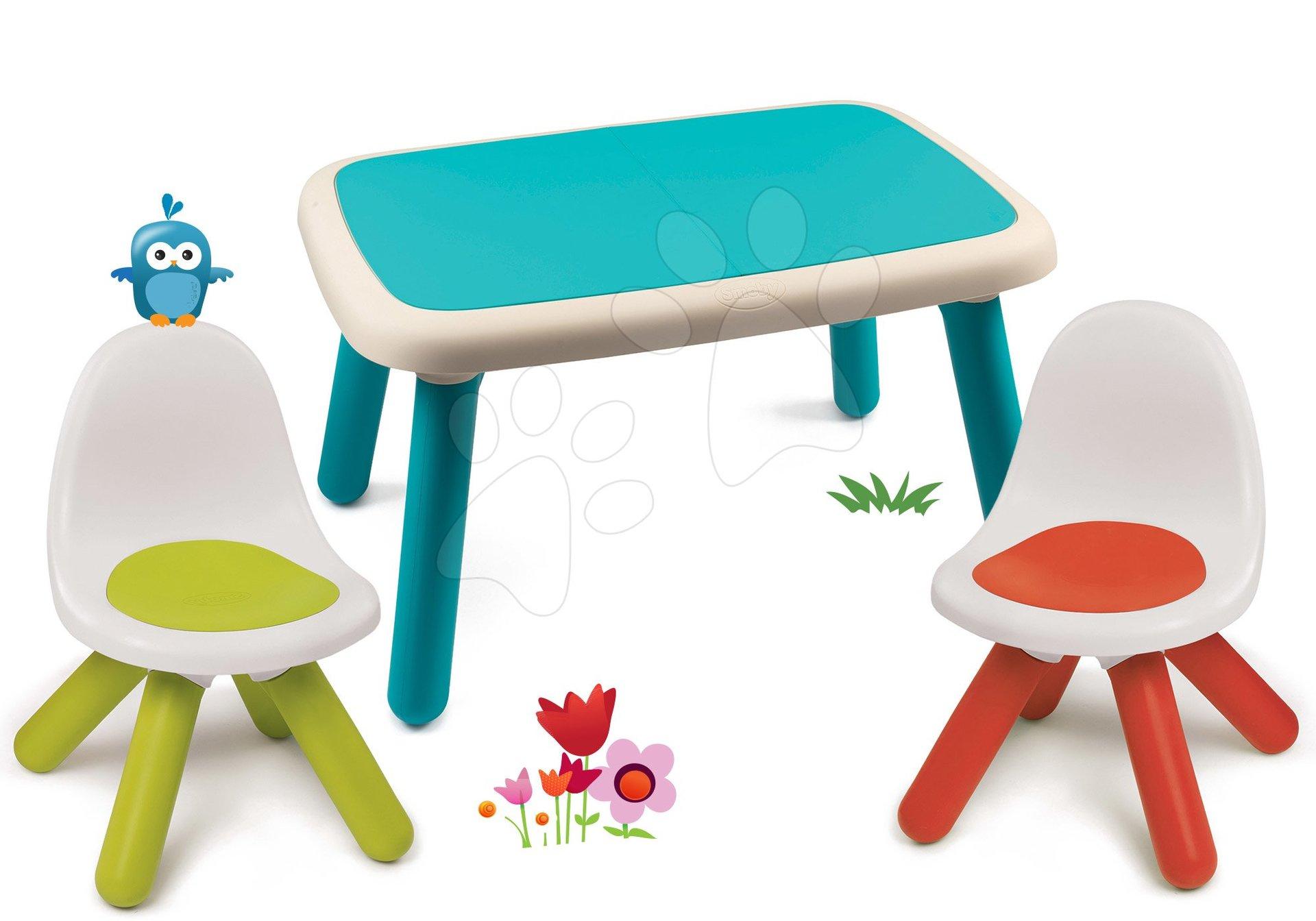 Set stôl pre deti KidTable modrý Smoby s dvoma stoličkami s UV filtrom