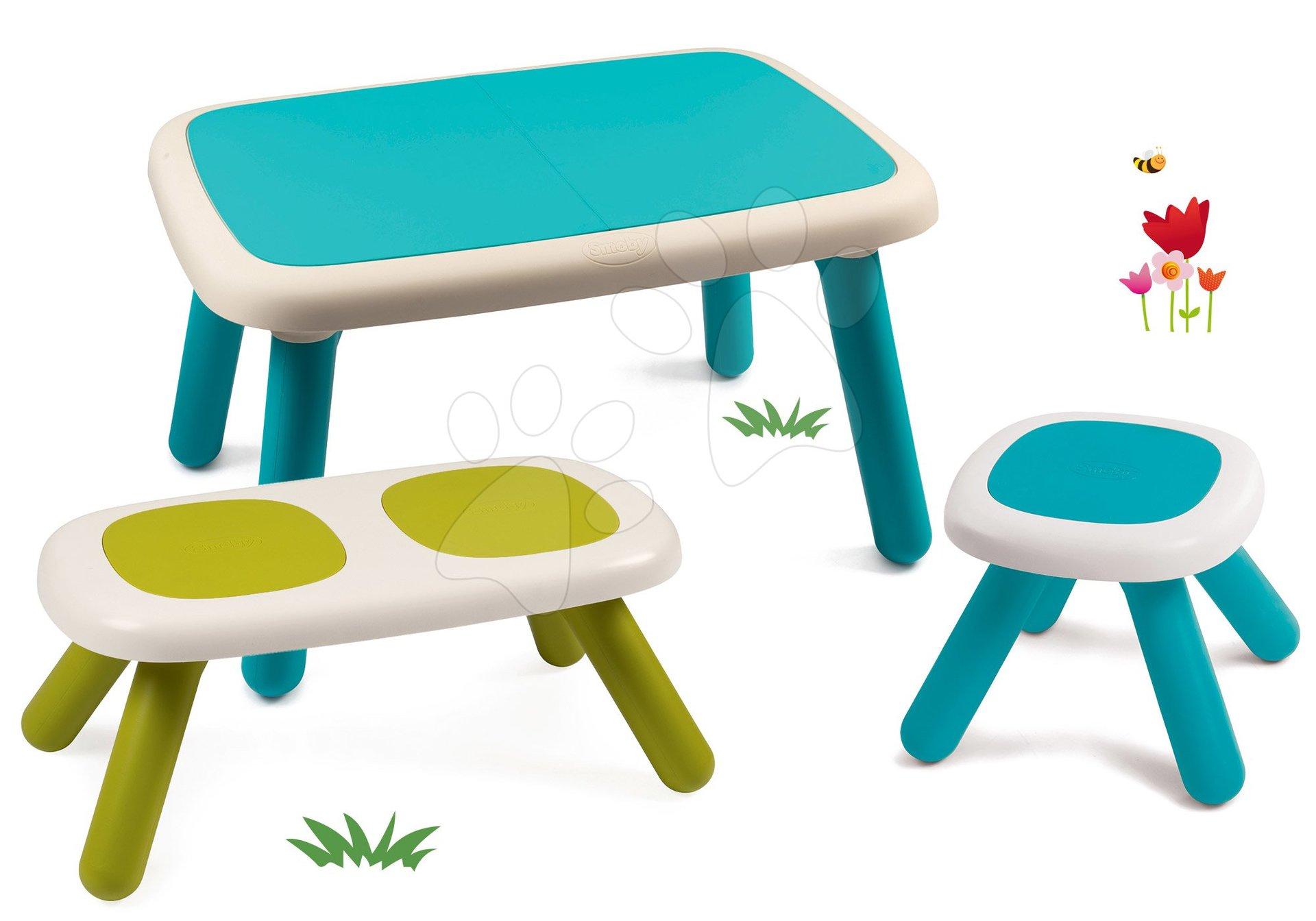 Set stôl pre deti KidTable modrý Smoby s lavicou a stolčekom s UV filtrom