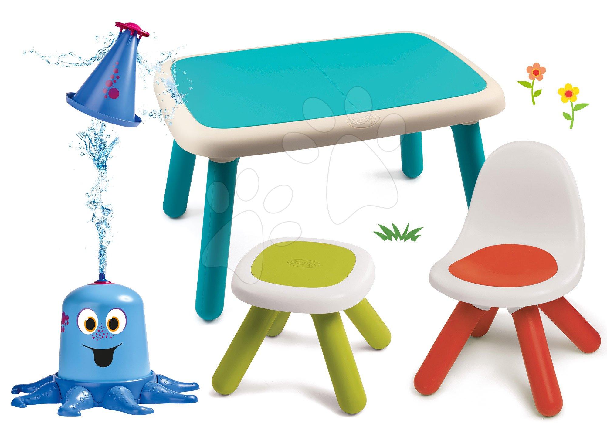 Set stôl pre deti KidTable modrý Smoby so stoličkou a stolčekom s vodnou chobotnicou s UV filtrom