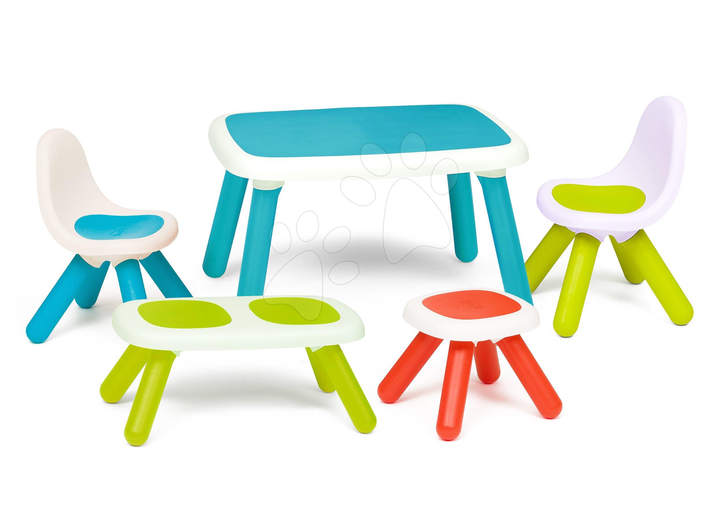 Set stôl pre deti KidTable Smoby modrý s lavičkou taburetkou a dvoma stoličkami