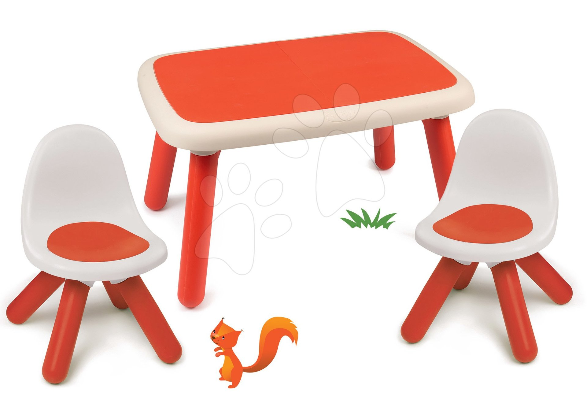 Set stôl pre deti KidTable červený Smoby s dvoma stoličkami s UV filtrom