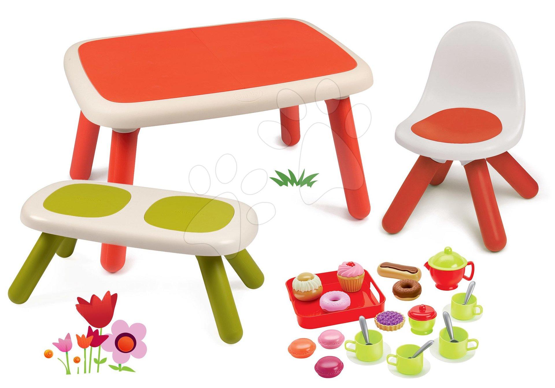Set stôl pre deti KidTable červený Smoby s lavicou, stoličkou s UV filtrom a čajovou súpravou s koláčmi