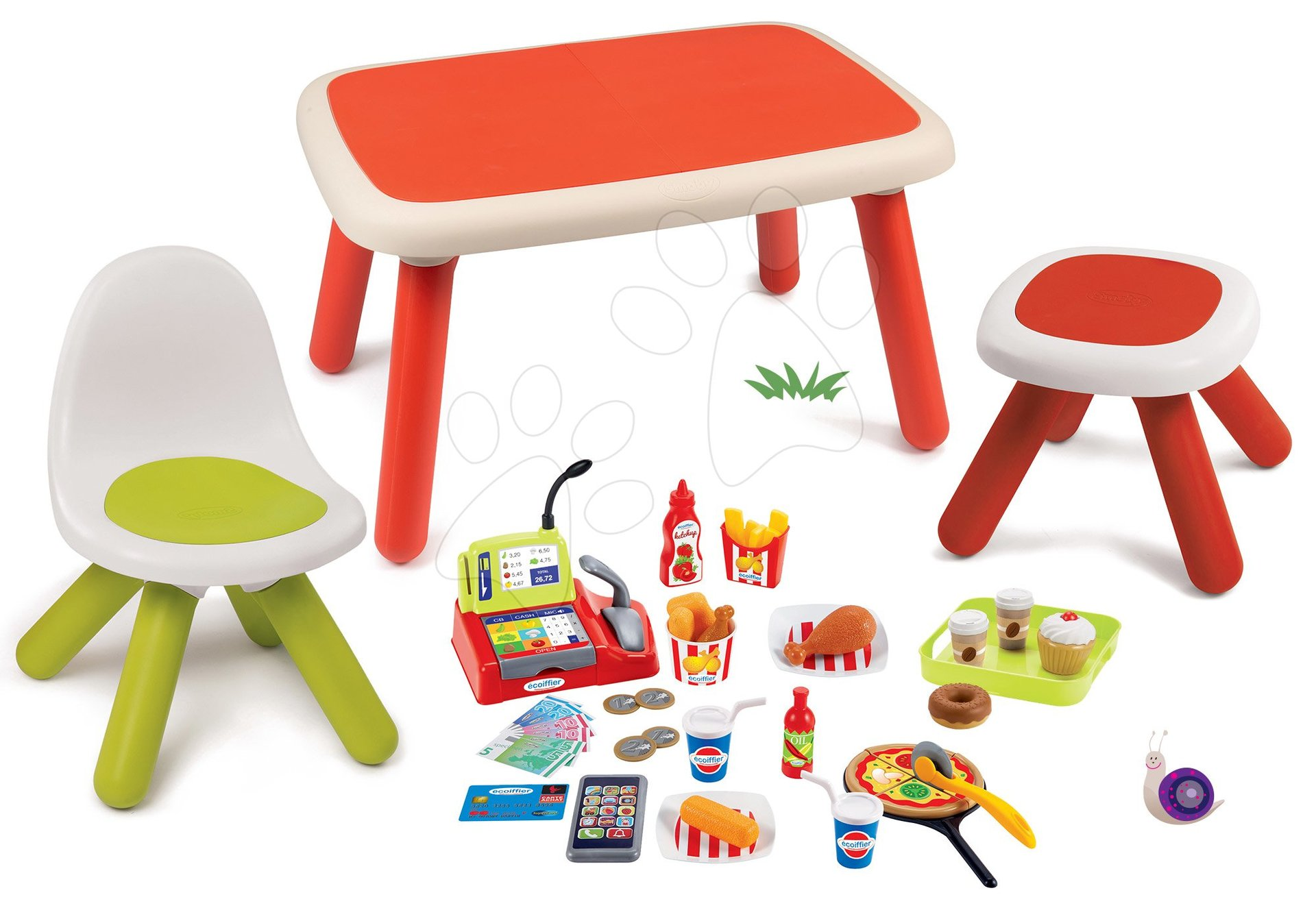 Set stôl pre deti KidTable červený Smoby so stoličkou a stolčekom s UV filtrom a potravinami Fast Food