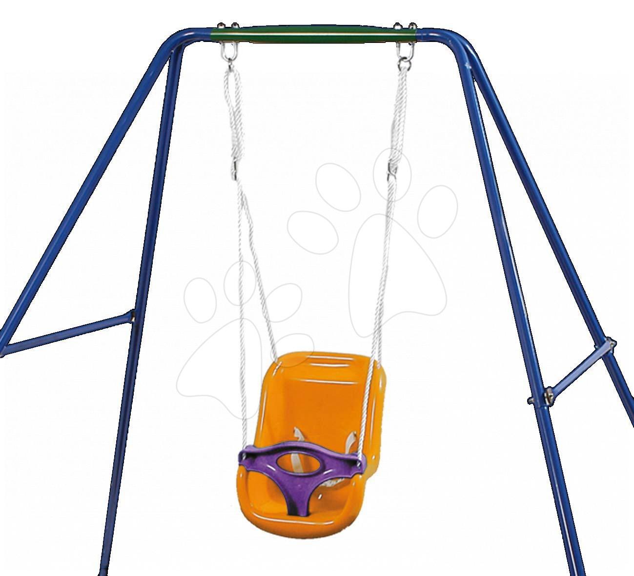 Hojdačka Baby Starplast so stojacou kovovou konštrukciou oranžovo-fialová od 6 mes
