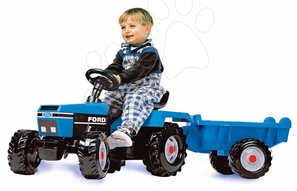Dětská šlapací vozidla - Traktor Ford na šlapání Smoby s přívěsem, 136 cm dlouhý