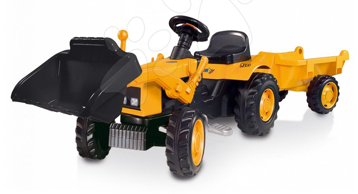 Traktor s přívěsem Smoby žlutý a s nakladačem