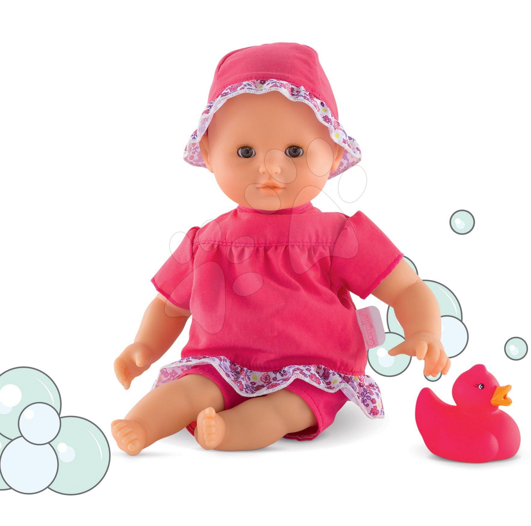 Bábika na kúpanie Bebe Bath Coralie Corolle s hnedými klipkajucími očami a kačičkou 30 cm od 18 mes