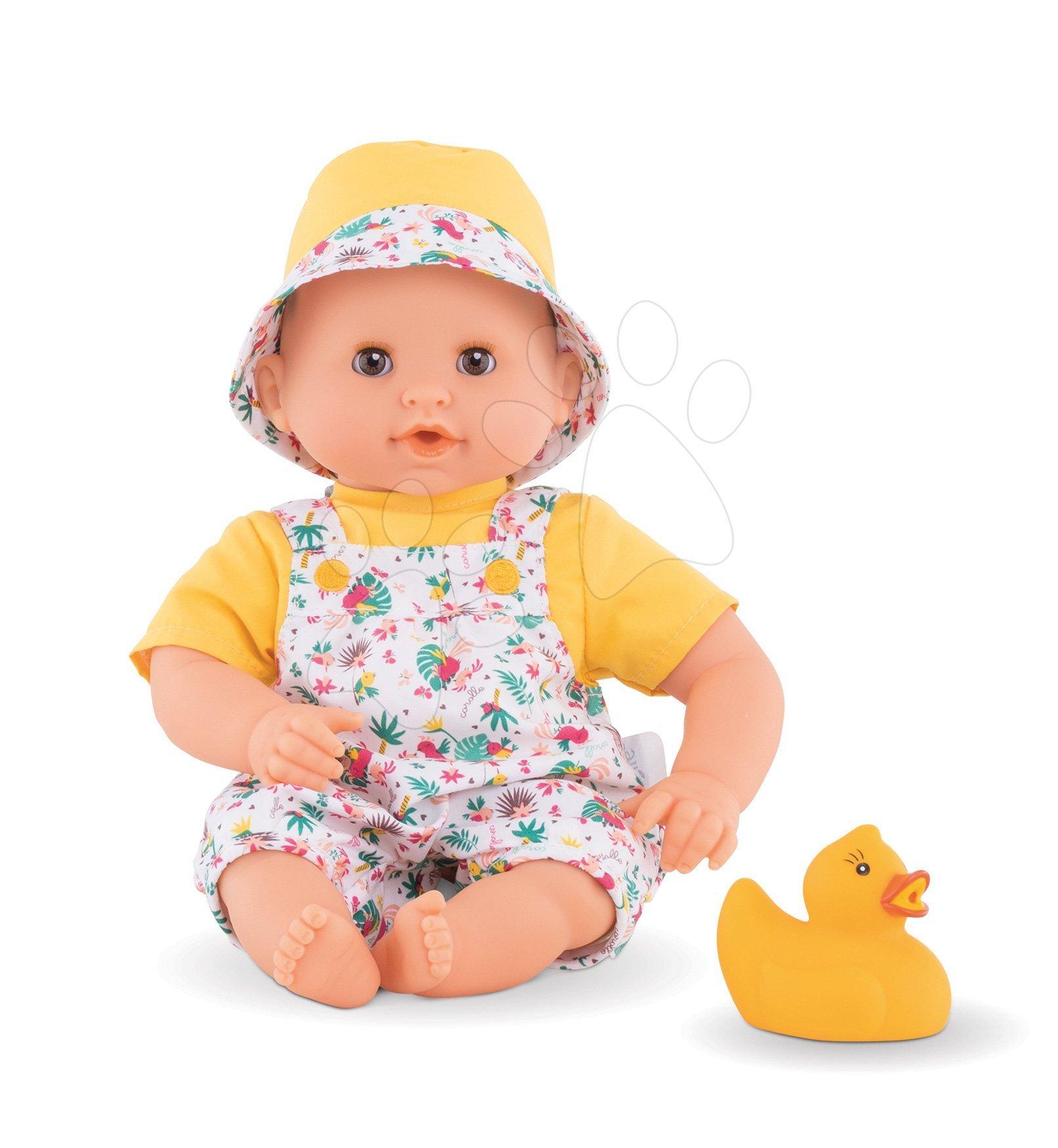 Bábika na kúpanie Bebe Bath TropiCorolle Corolle s hnedými klipkajúcimi očami a kačičkou 30 cm od 18 mes